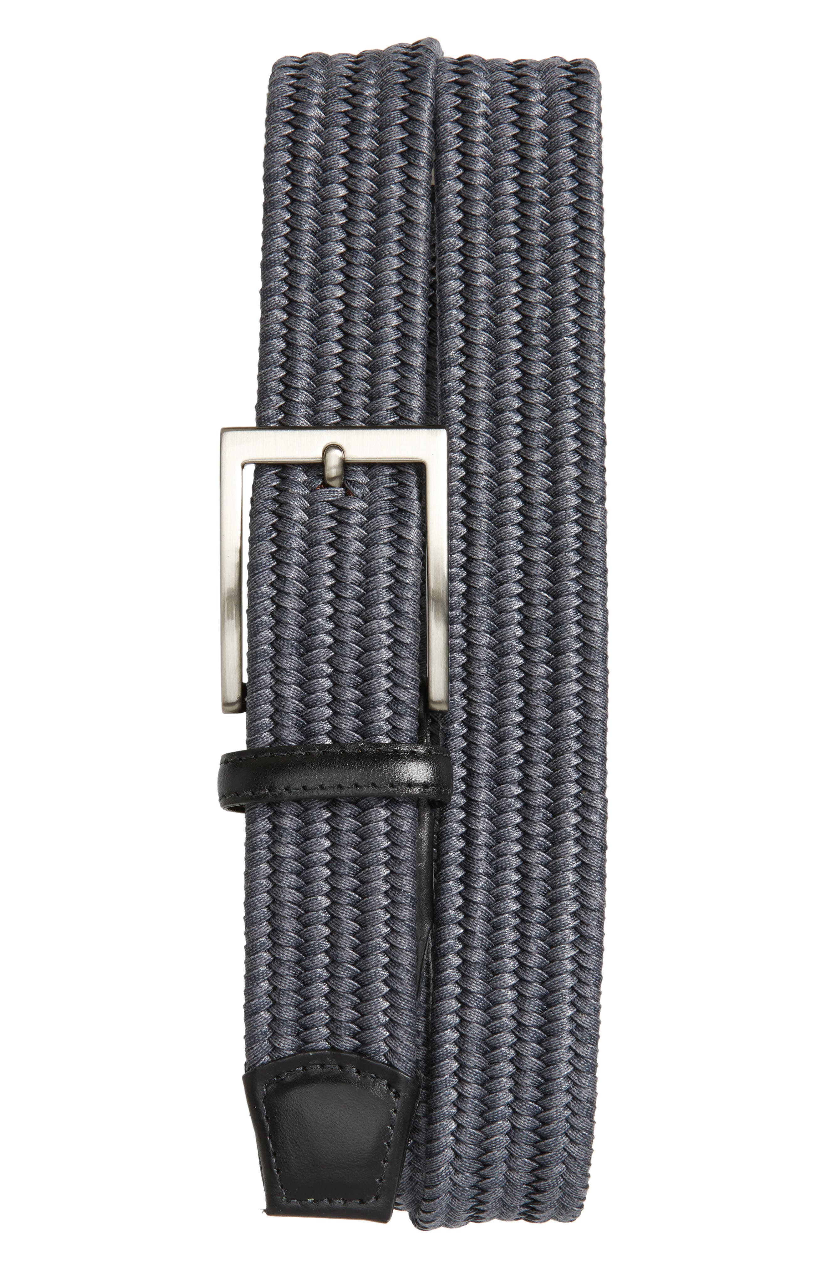 Braided Cotton Belt,                         Main,                         color, GREY