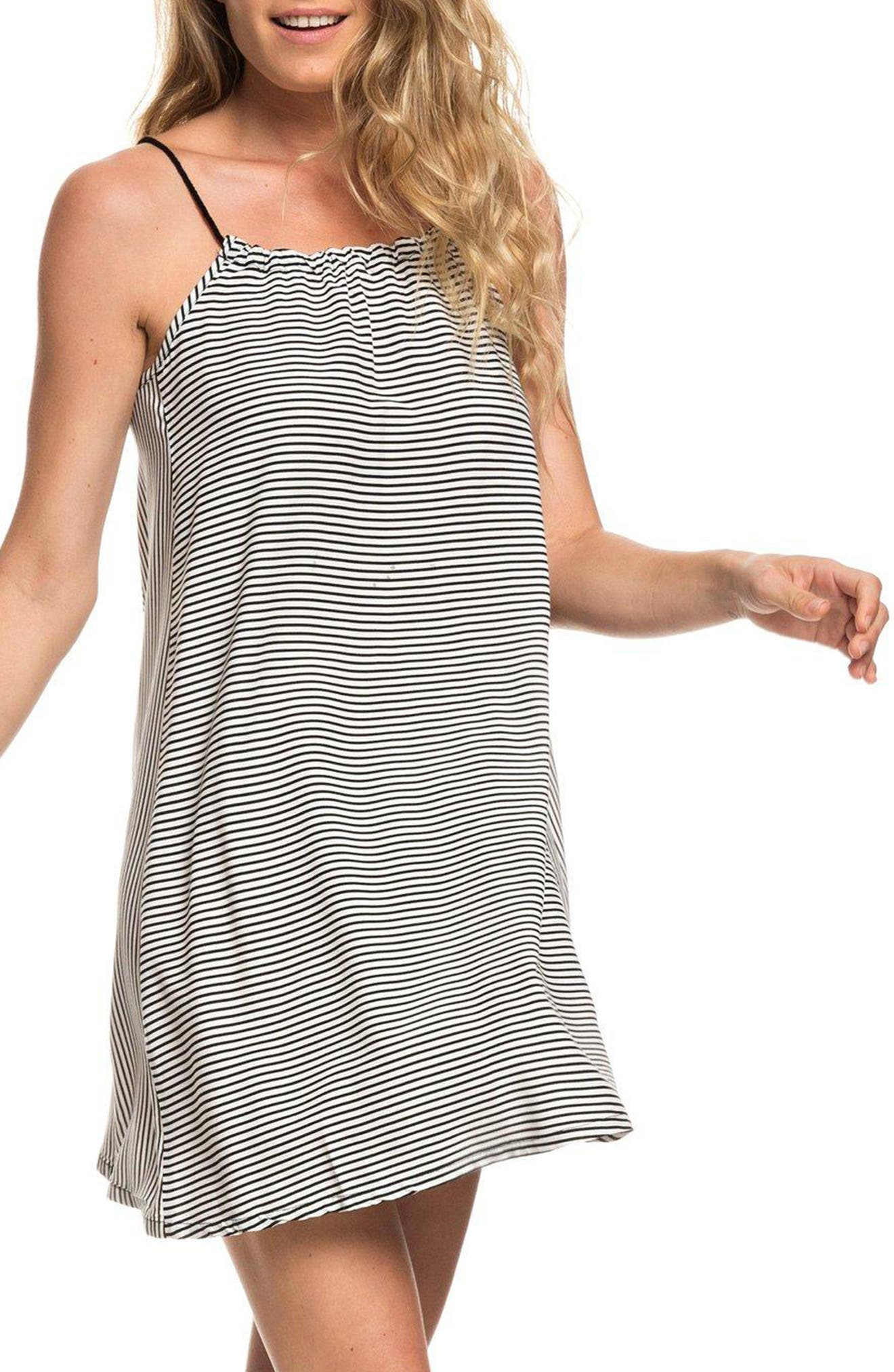 Roxy All About Queens Stripe Minidress, Grey