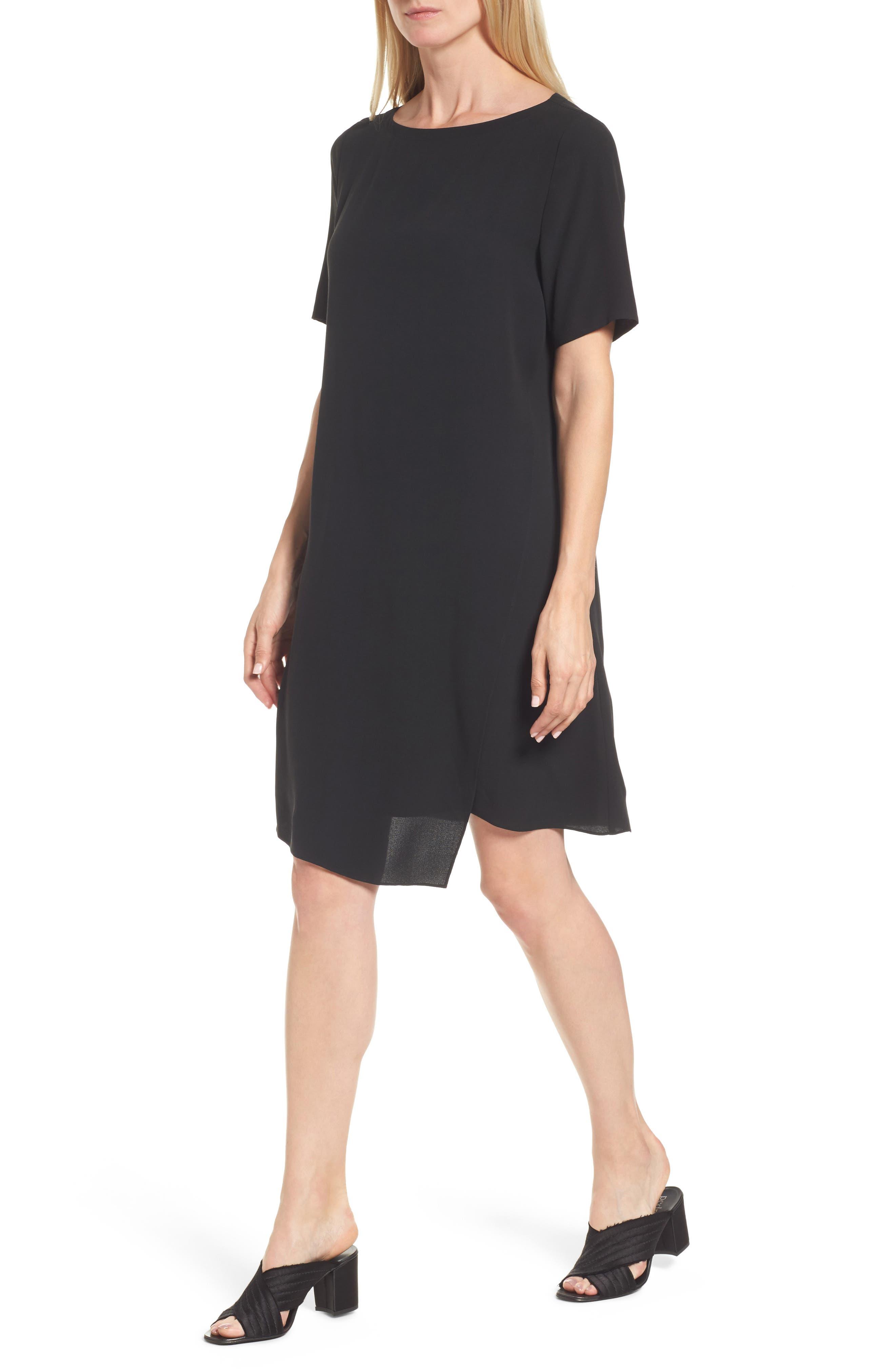 Asymmetrical Silk Shift Dress,                             Alternate thumbnail 4, color,                             001