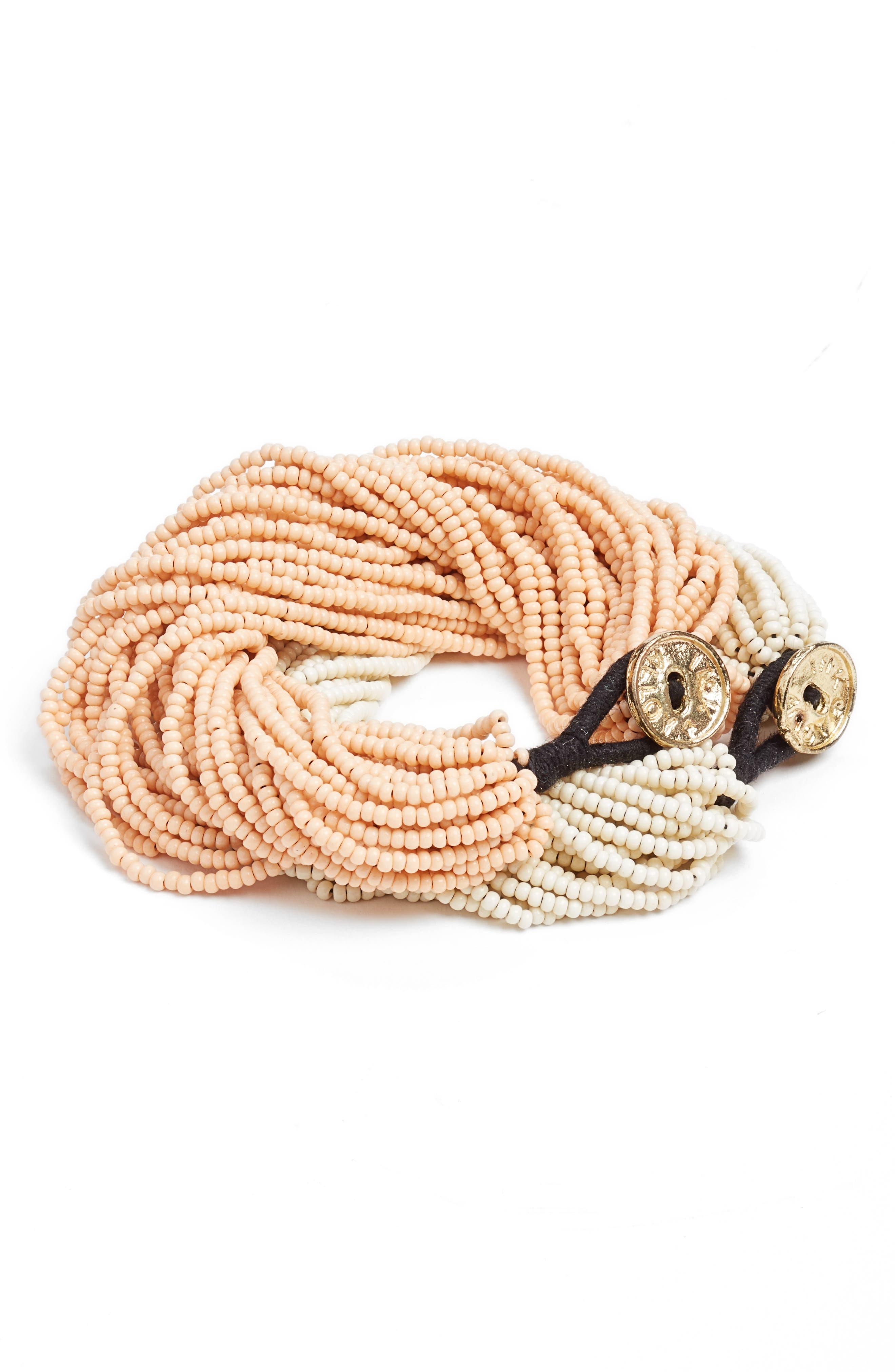 Set of 2 Beaded Bracelets,                         Main,                         color, PINK/ IVORY