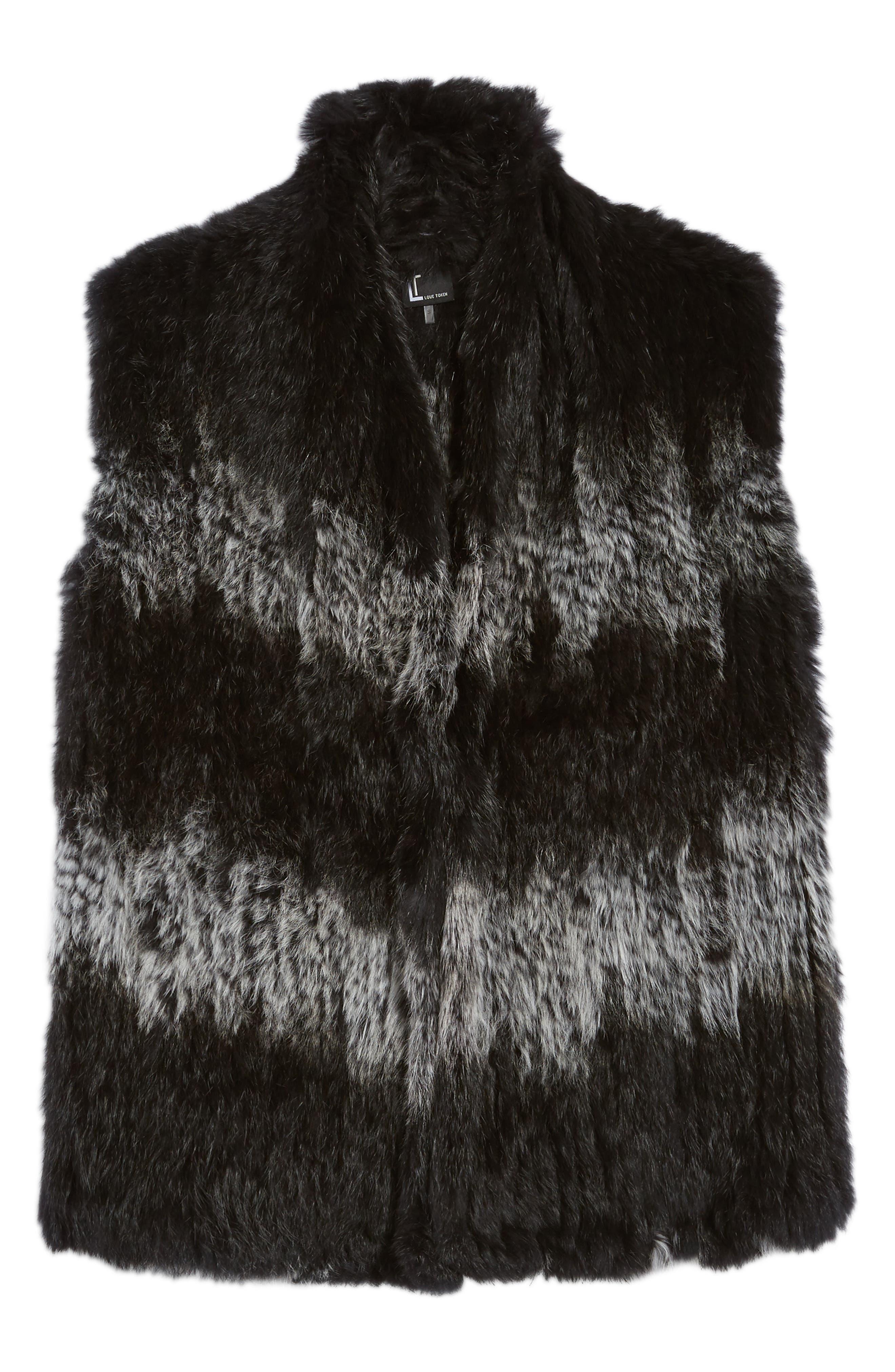 Genuine Rabbit Fur Vest,                             Alternate thumbnail 5, color,                             006