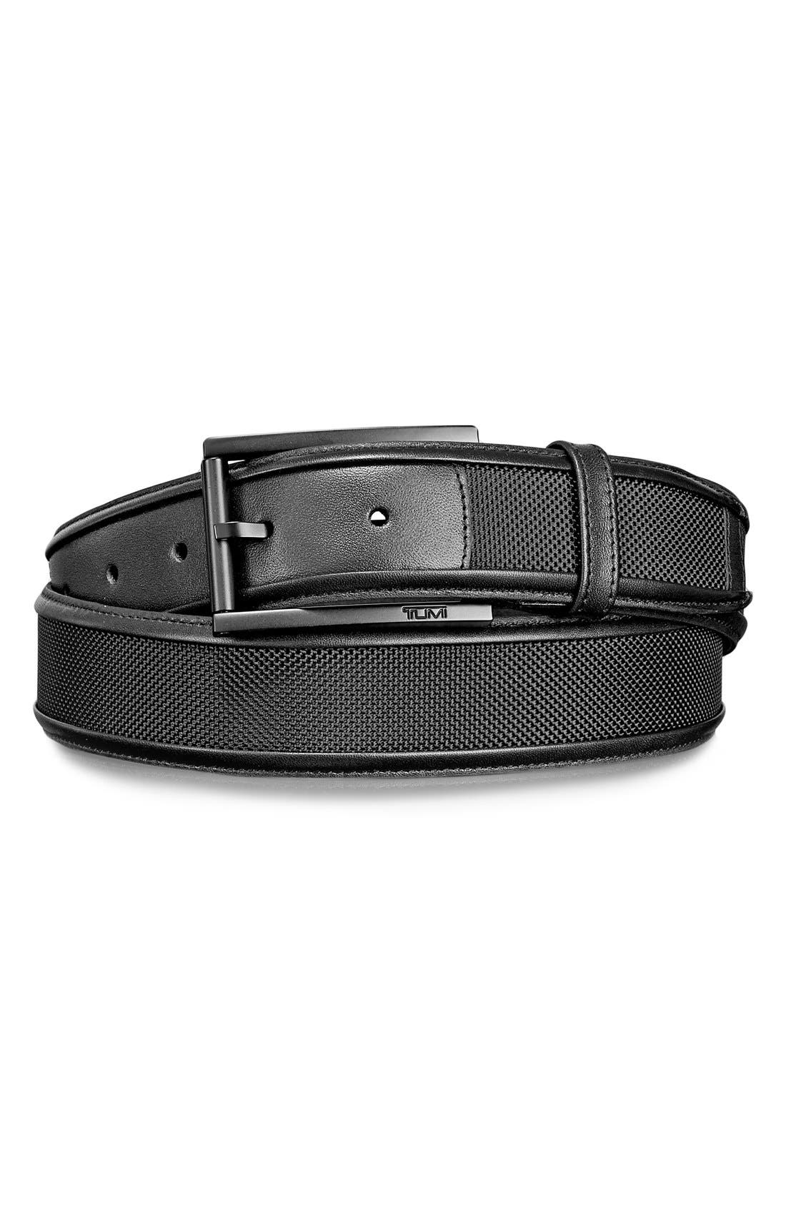 Leather & Ballistic Nylon Belt,                             Main thumbnail 1, color,                             006