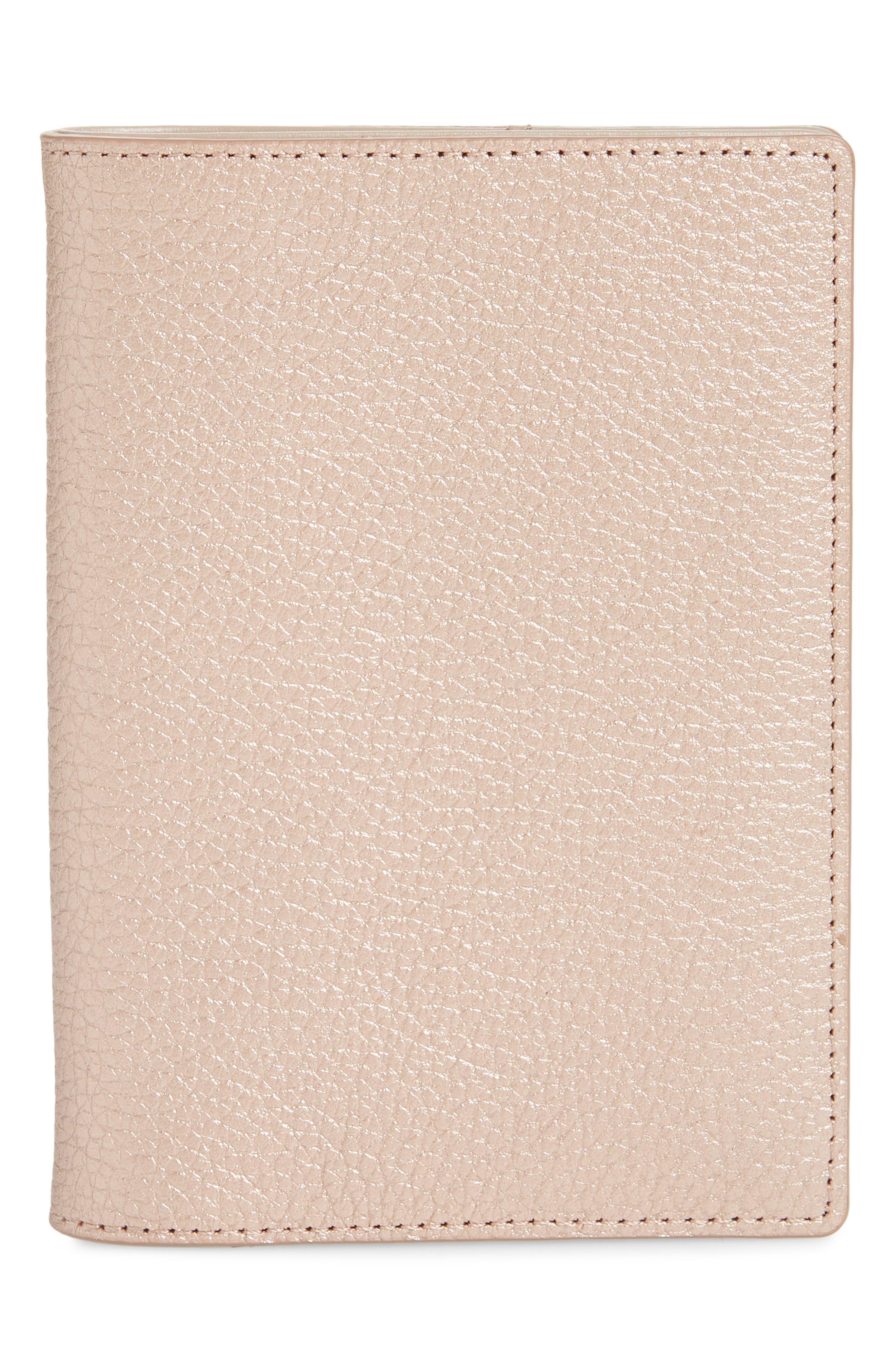Leather Passport Case,                             Main thumbnail 1, color,                             ROSE GOLD