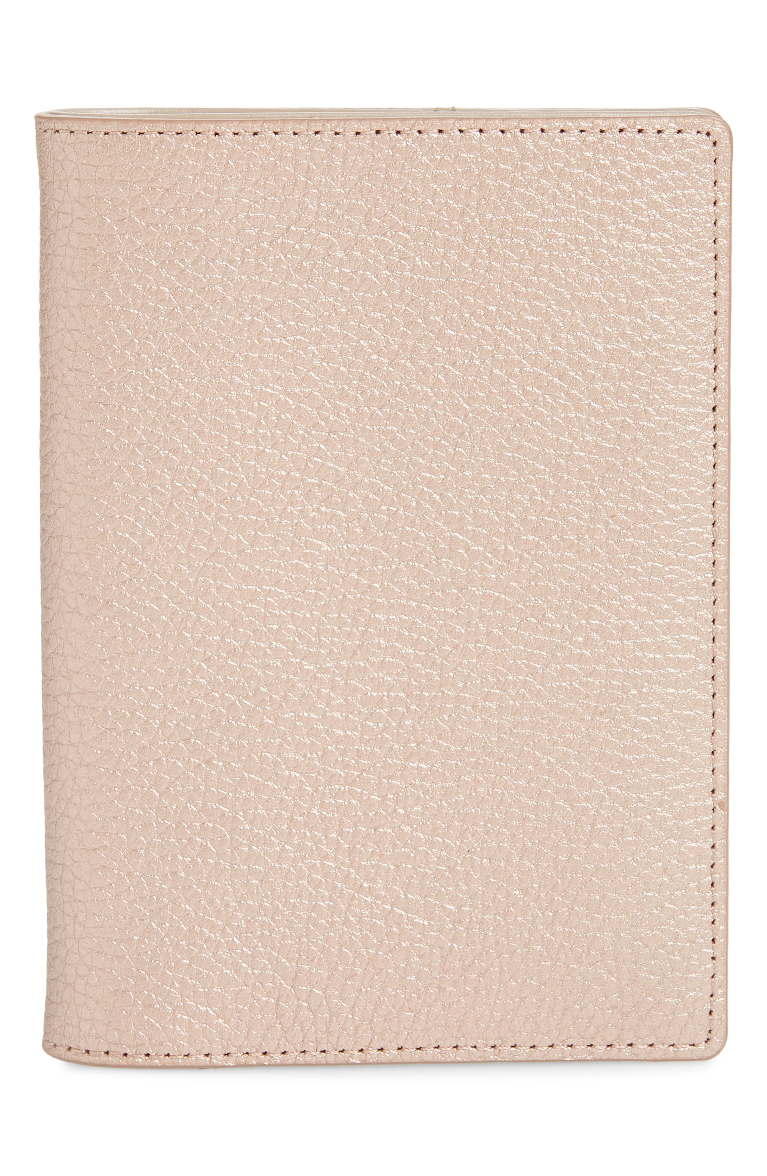 Leather Passport Case,                         Main,                         color, ROSE GOLD