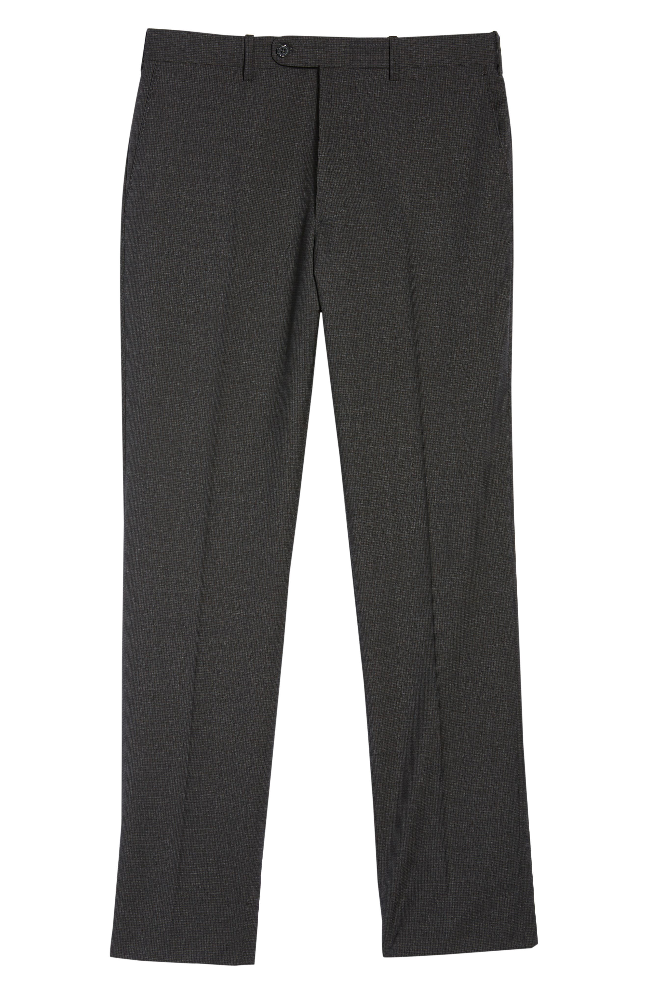 Torino Traditional Fit Flat Front Houndstooth Trousers,                             Alternate thumbnail 6, color,                             CHARCOAL