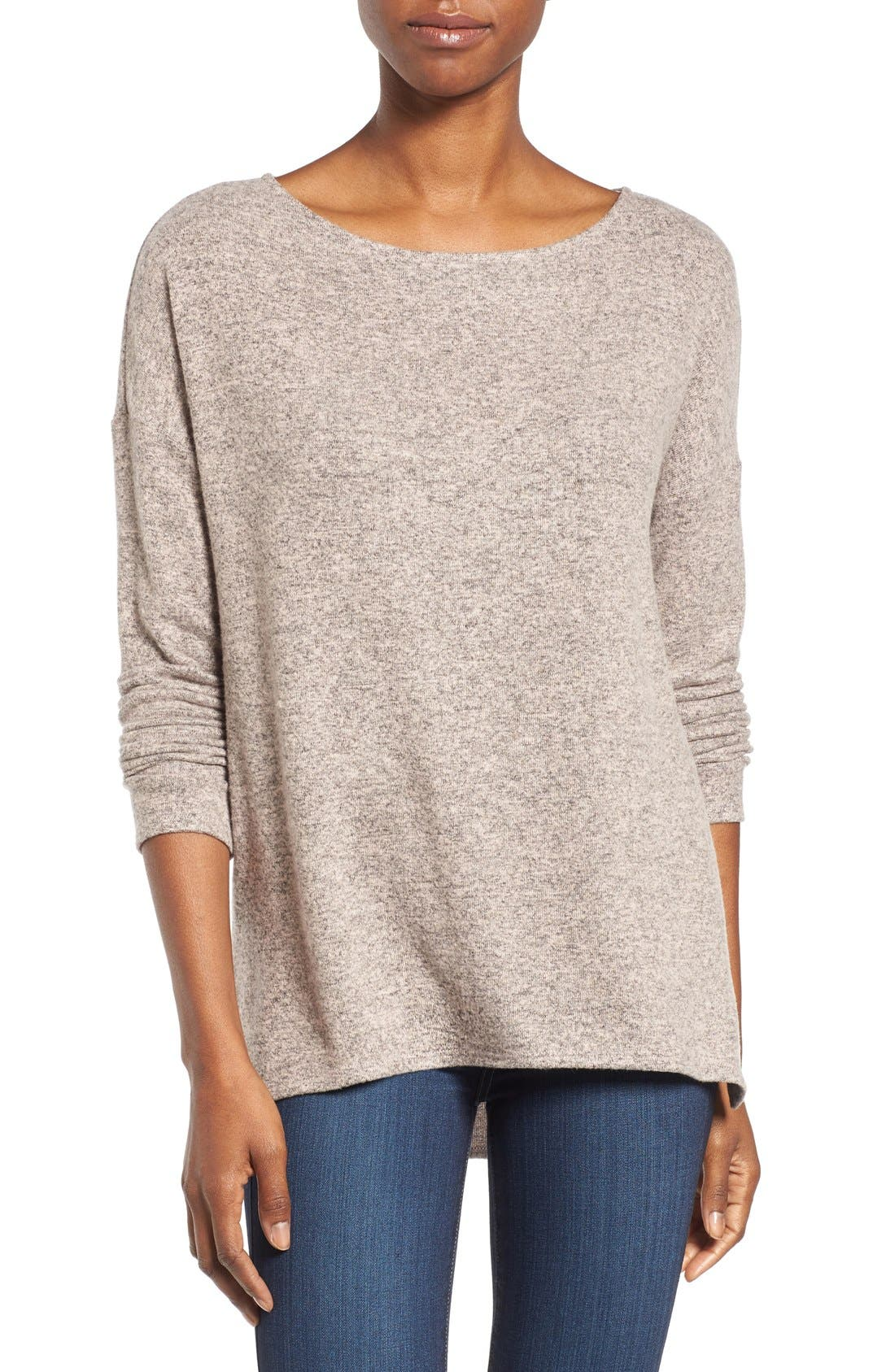 Cozy Ballet Neck High/Low Pullover,                             Main thumbnail 17, color,