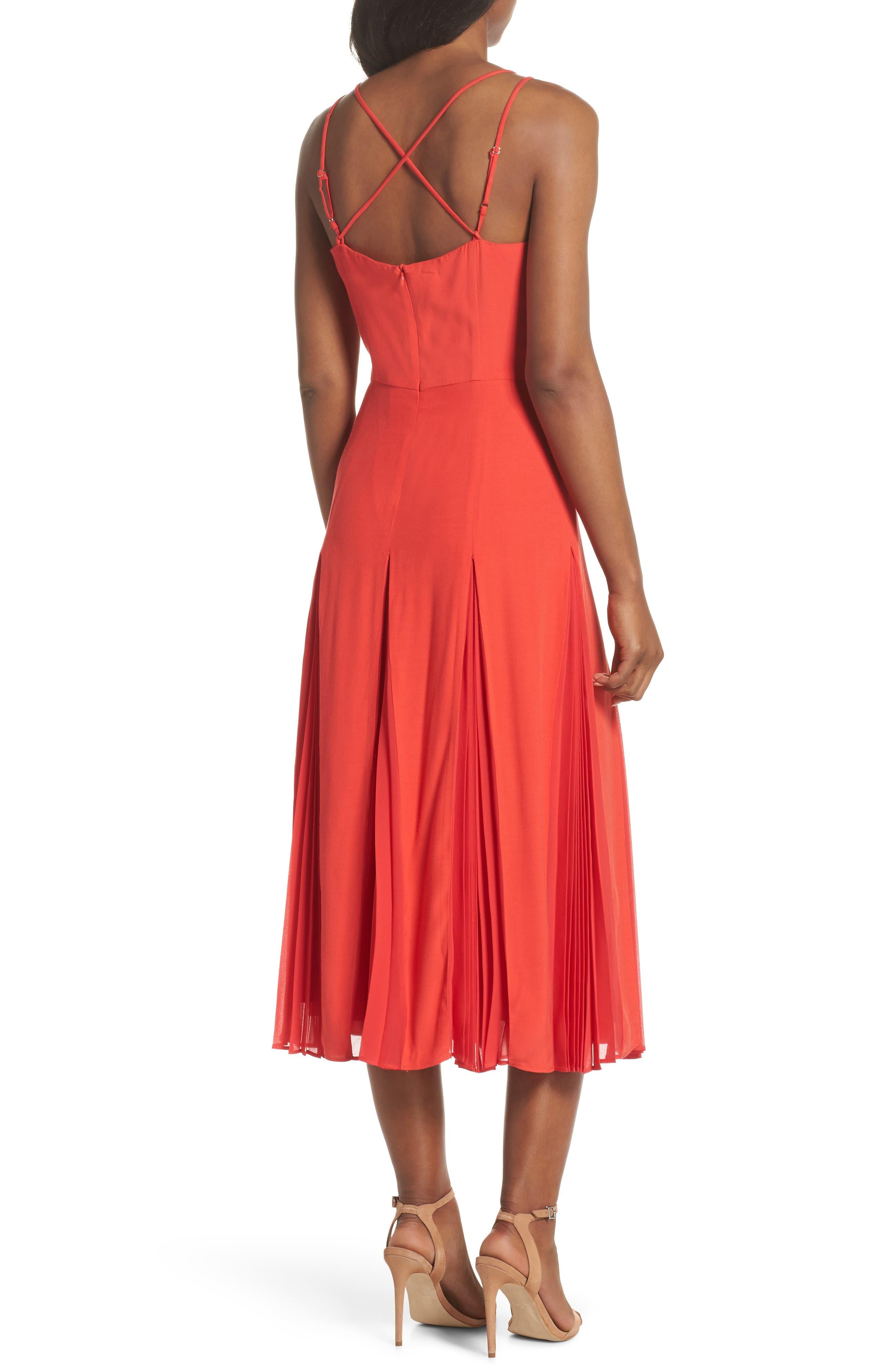 Pleated Godet Midi Dress,                             Alternate thumbnail 2, color,                             602