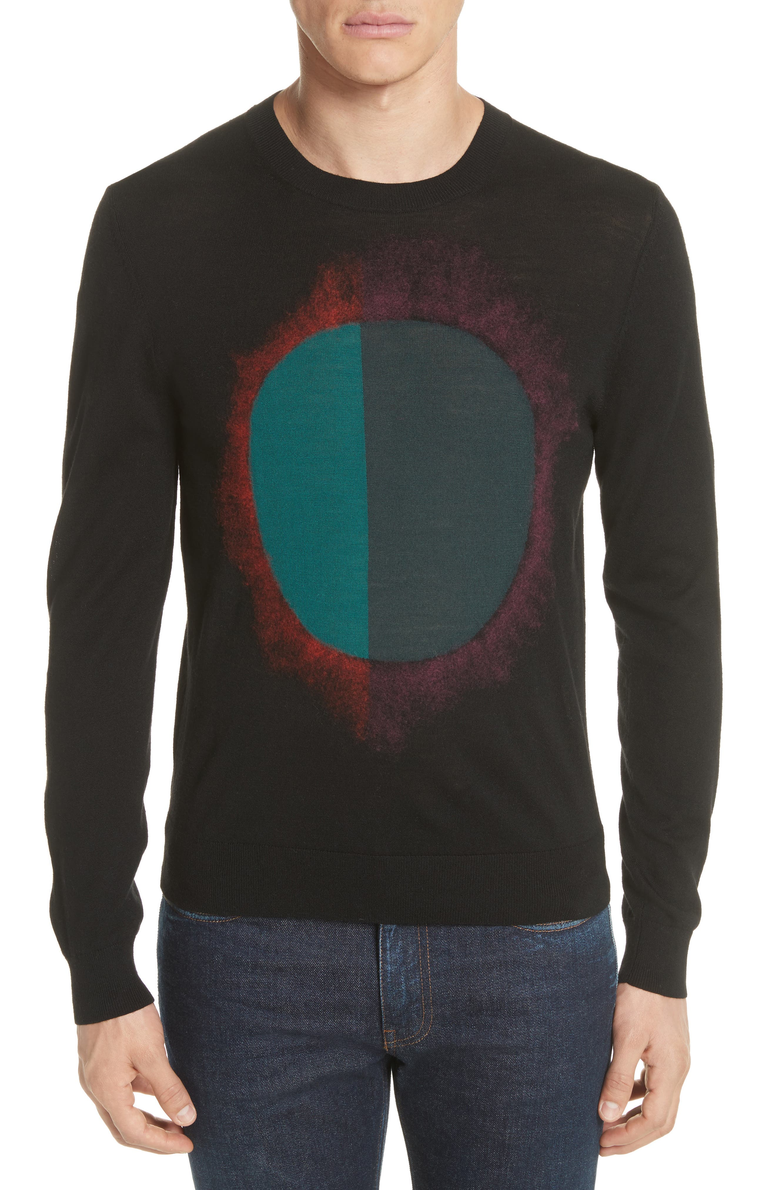 Circle Merino Wool Blend Sweater, Main, color, 001
