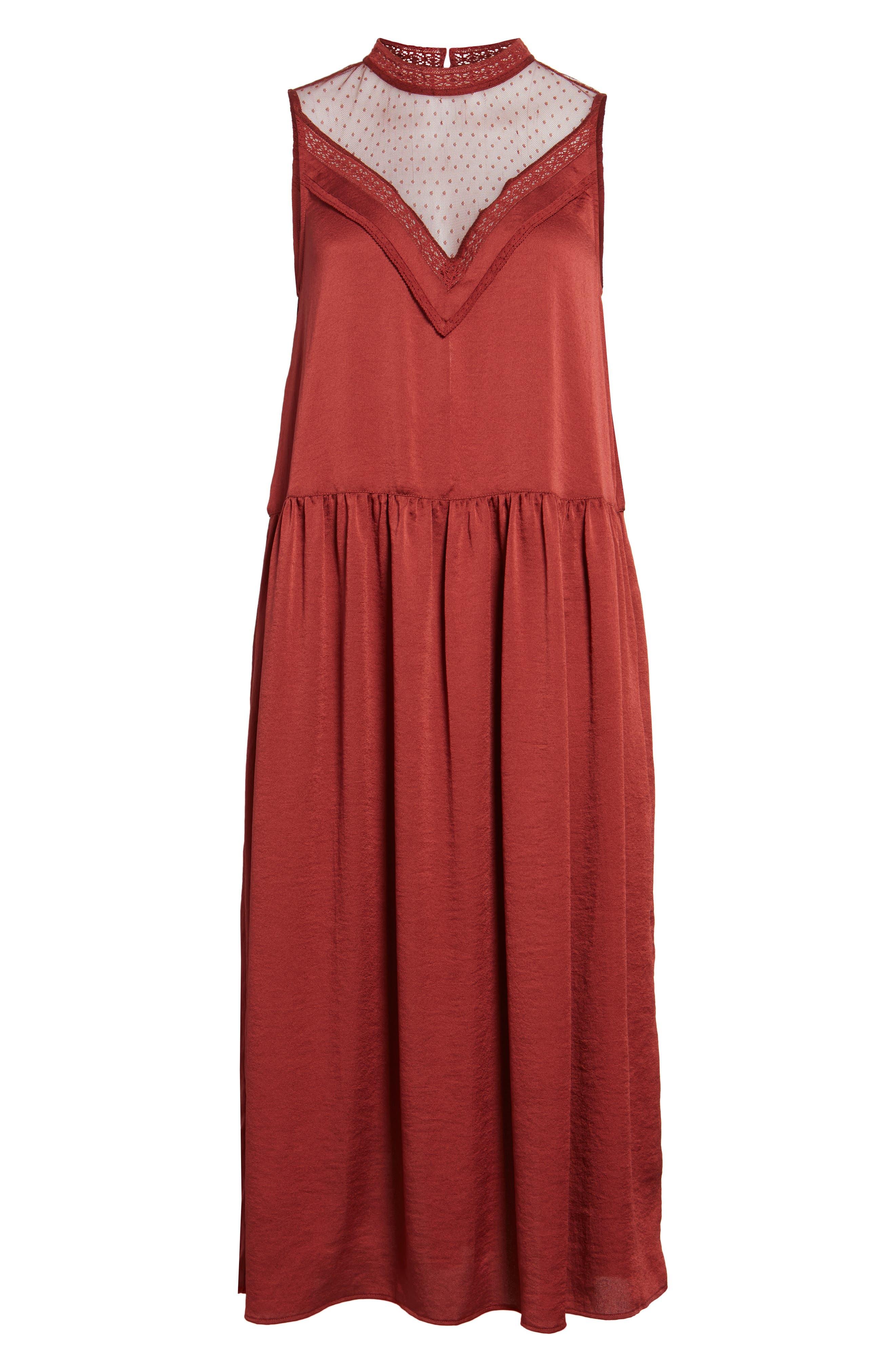 Mesh Panel Midi Dress,                             Alternate thumbnail 12, color,