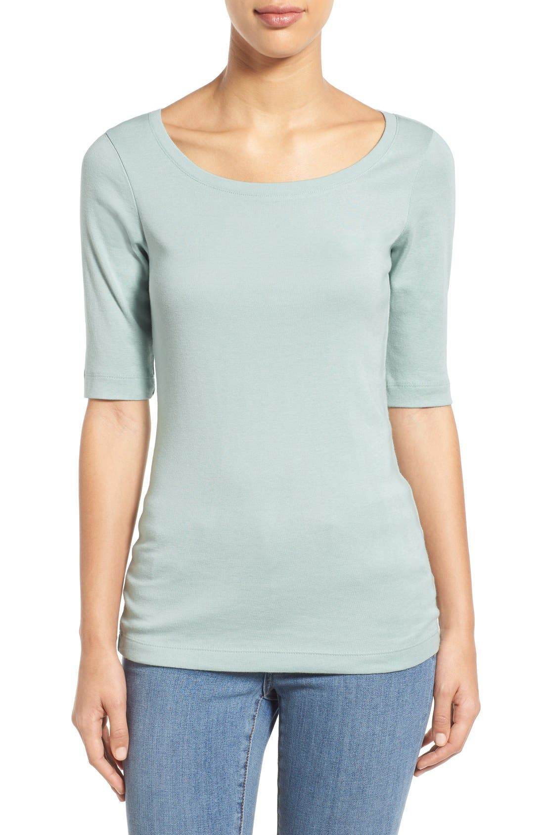 Ballet Neck Cotton & Modal Knit Elbow Sleeve Tee,                             Main thumbnail 30, color,