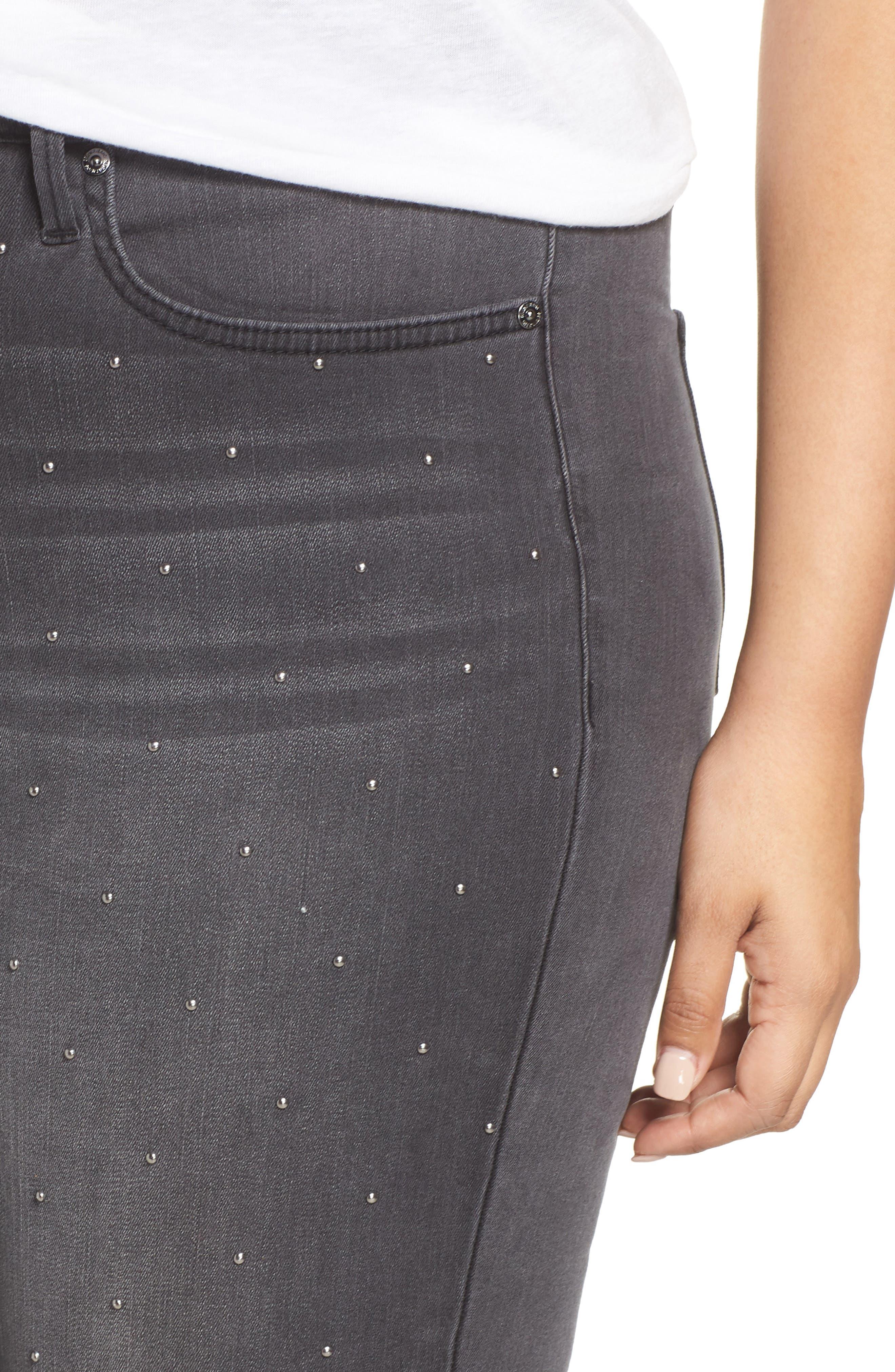 High Rise Lace Hem Skinny Jeans,                             Alternate thumbnail 4, color,                             REVOLUTION