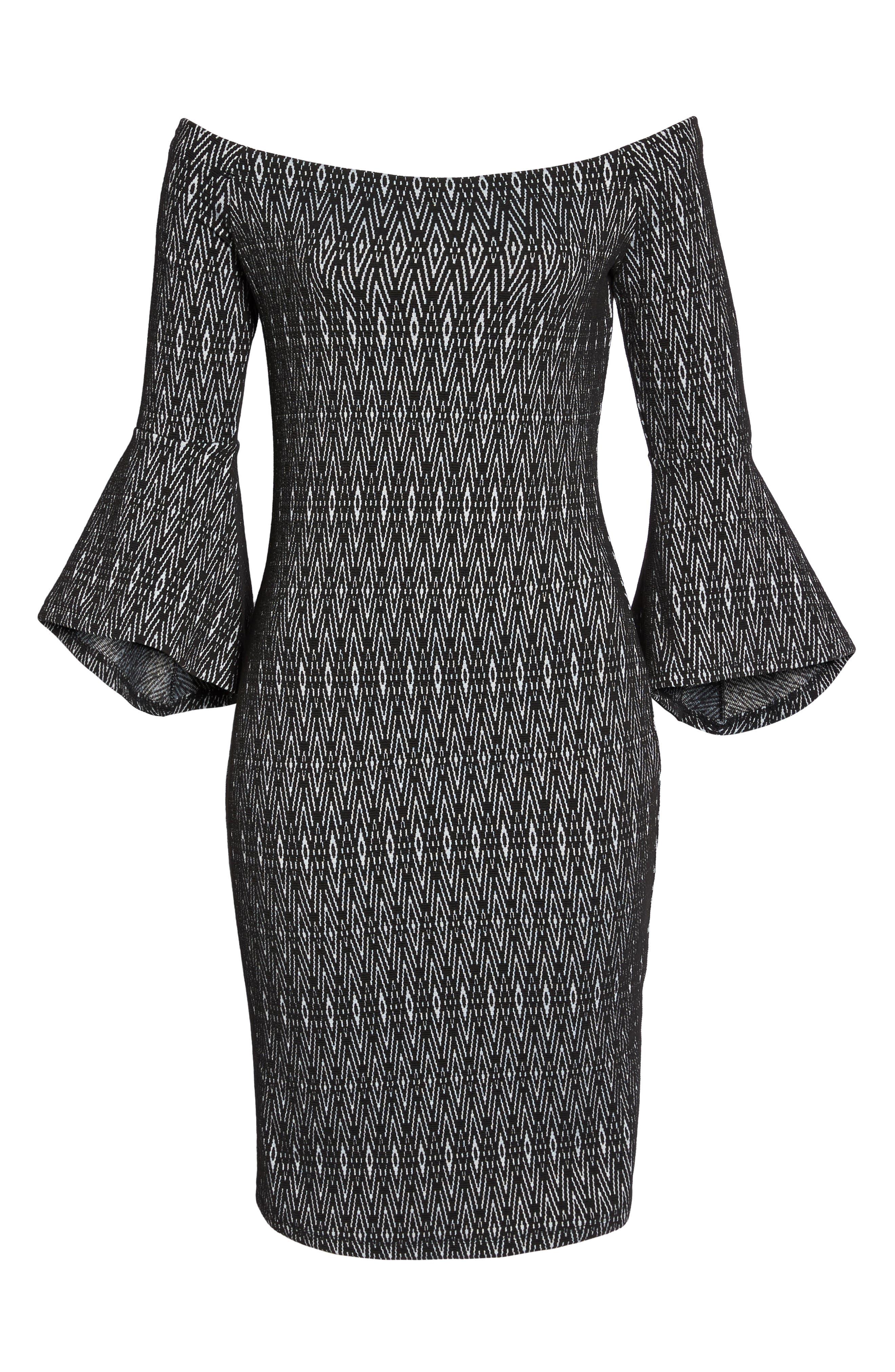Off the Shoulder Sheath Dress,                             Alternate thumbnail 6, color,