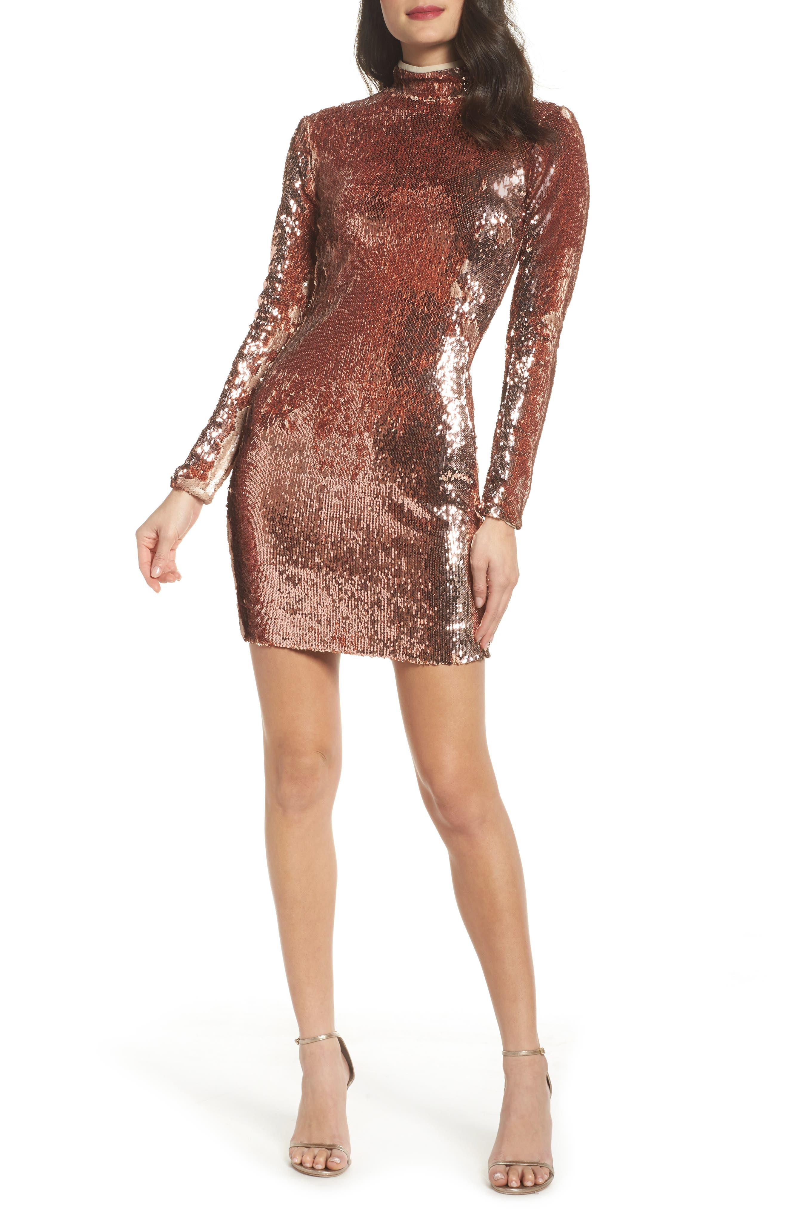 Katy Reversible Sequin Body-Con Dress,                             Main thumbnail 1, color,                             ROSE GOLD/ NUDE