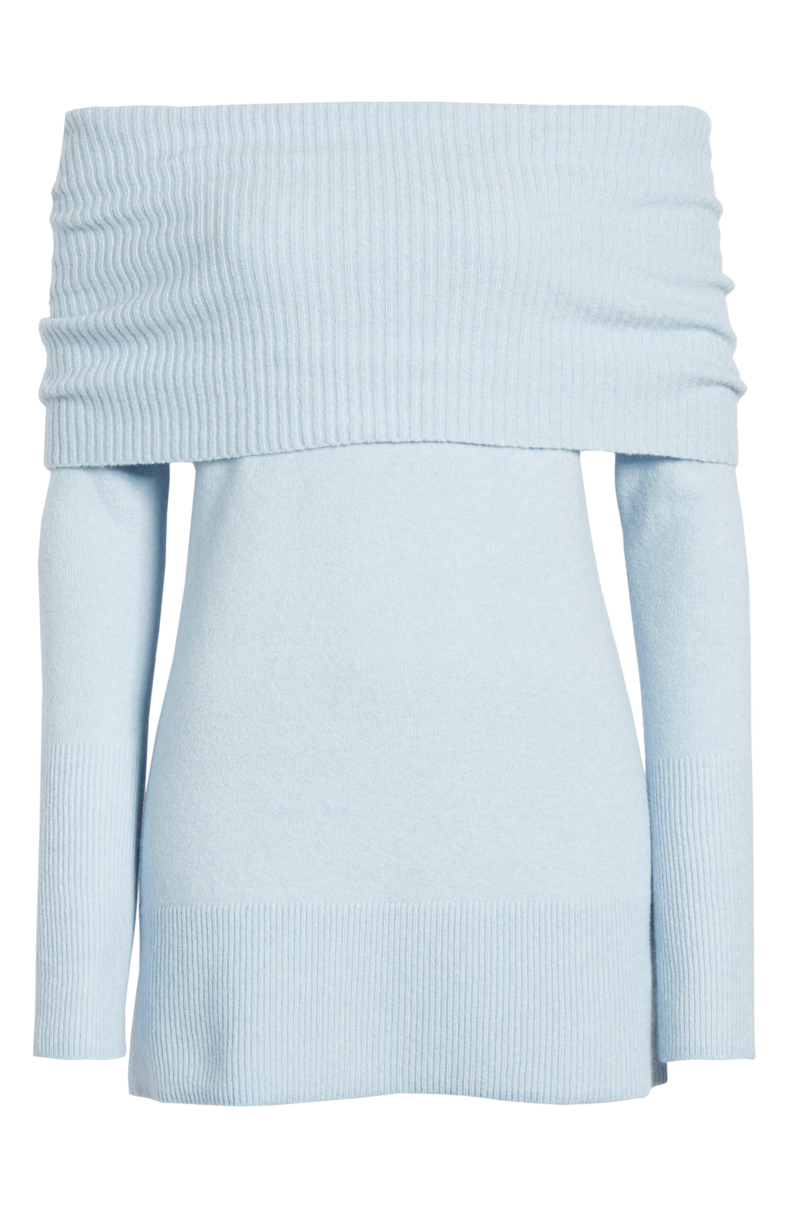 Convertible Neck Sweater,                             Alternate thumbnail 6, color,                             BLUE FOG