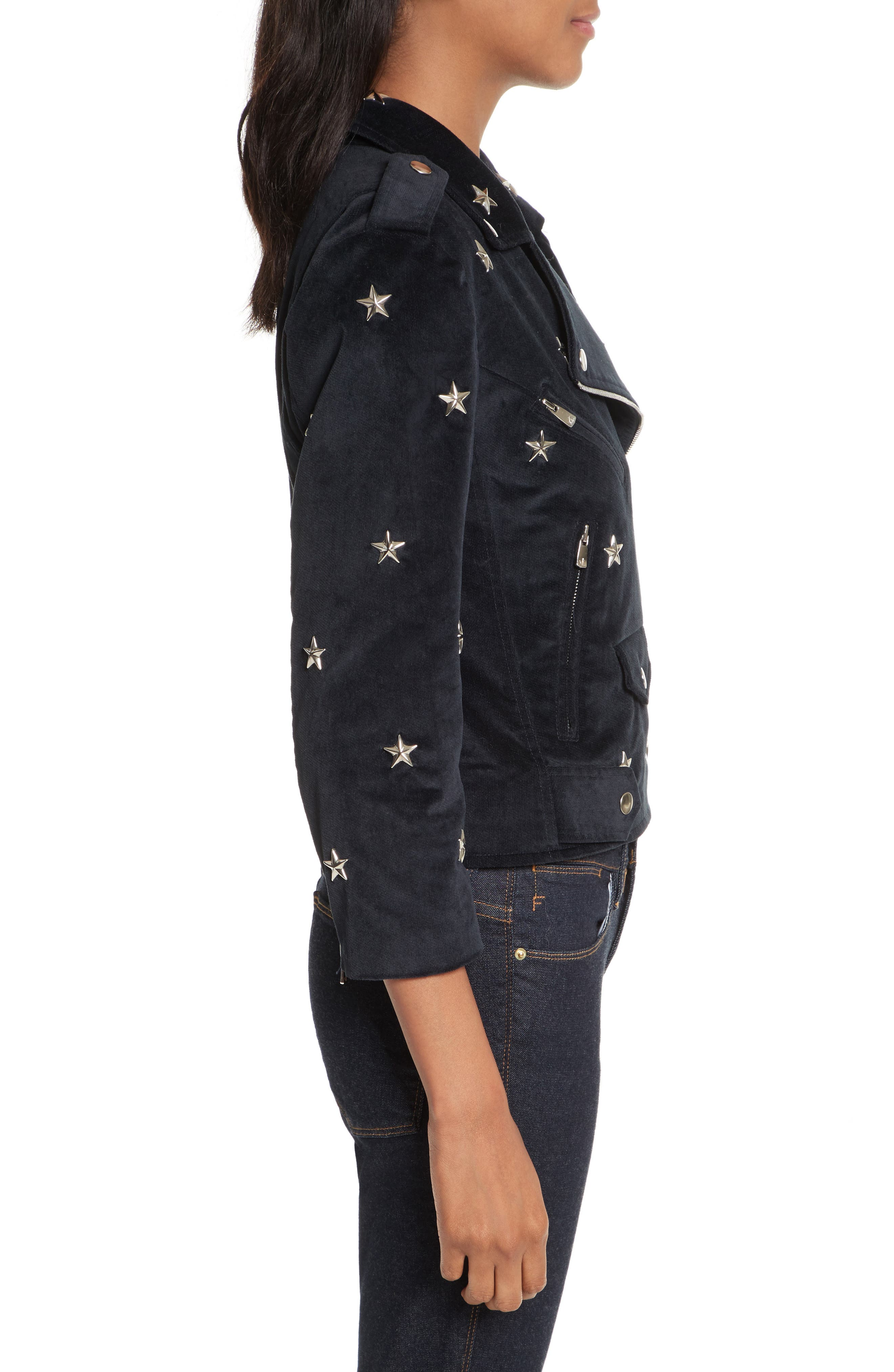 Wes Star Stud Moto Jacket,                             Alternate thumbnail 3, color,                             410