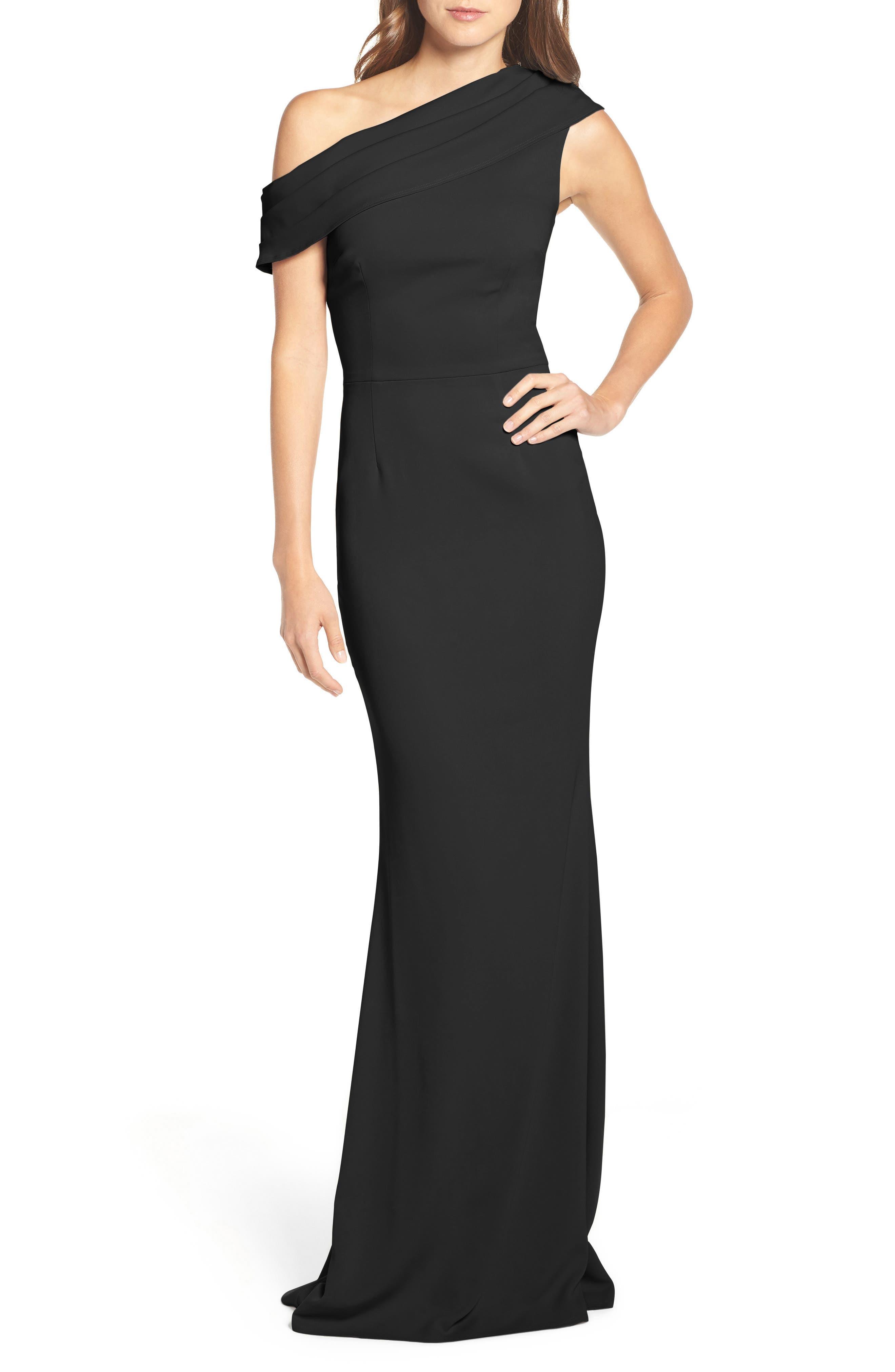 Layla Pleat One-Shoulder Crepe Gown,                             Main thumbnail 1, color,                             BLACK