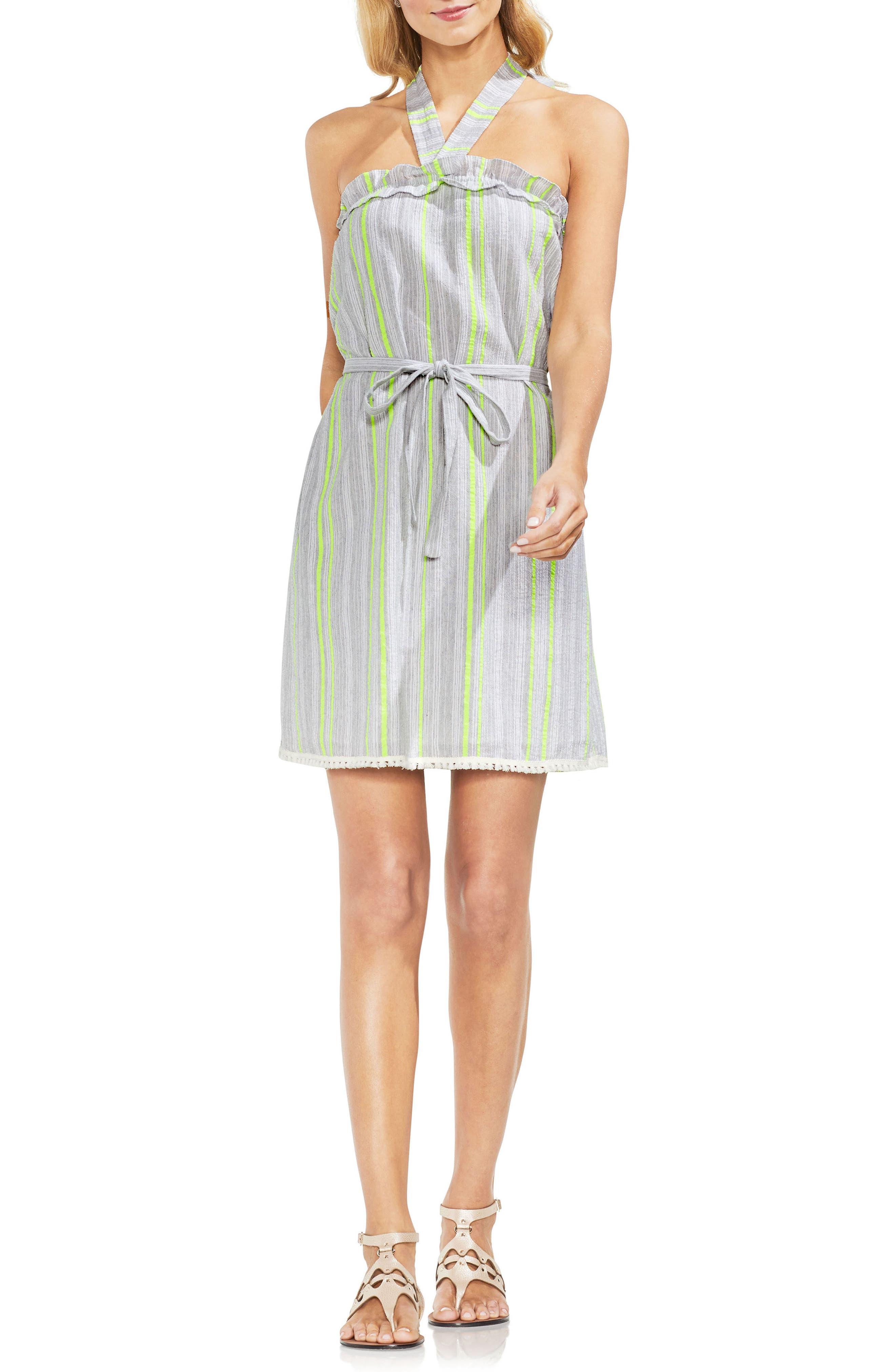 Halter Top Stripe Cotton Blend Dress,                             Main thumbnail 1, color,                             300