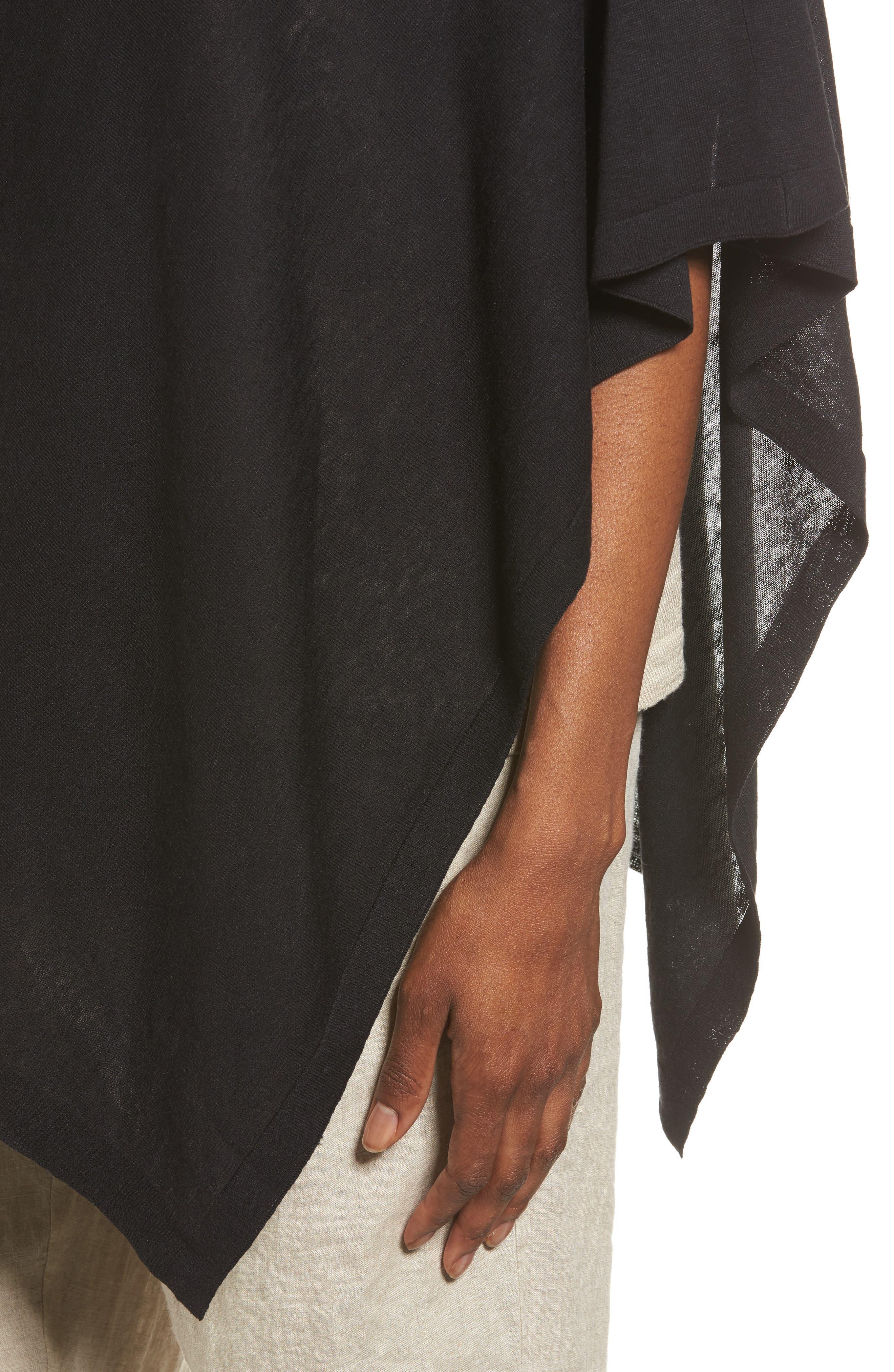 Silk & Organic Linen Poncho,                             Alternate thumbnail 4, color,                             001