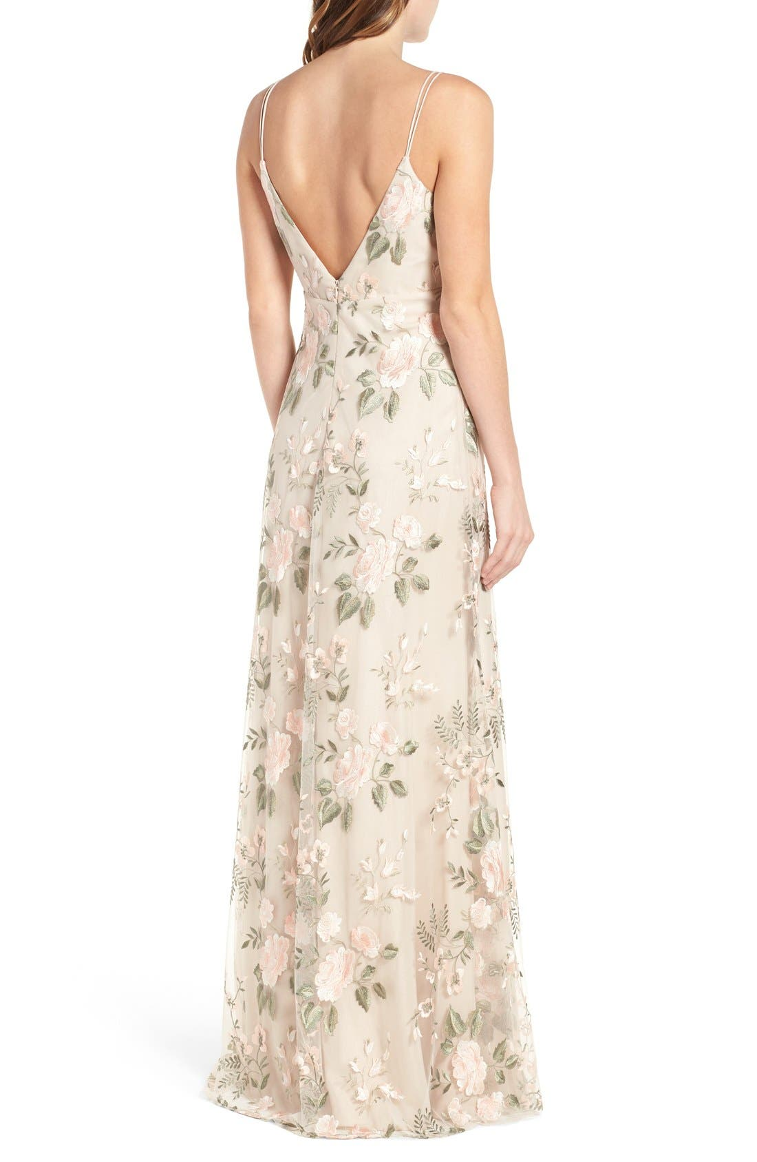 Julianna Embroidered Gown,                             Alternate thumbnail 6, color,                             BLUSH SAND DUNE