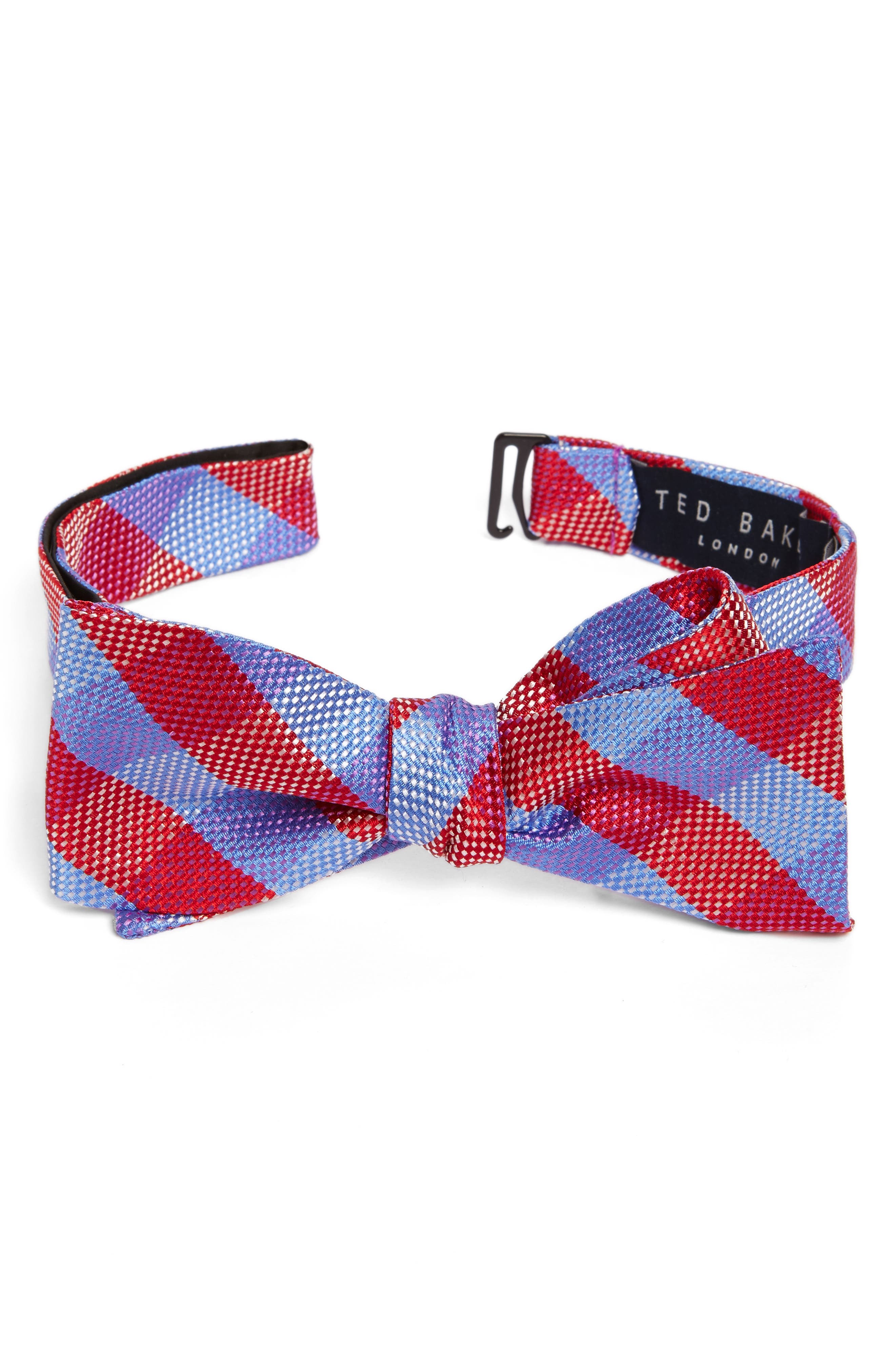 Derby Check Silk Bow Tie,                             Main thumbnail 6, color,
