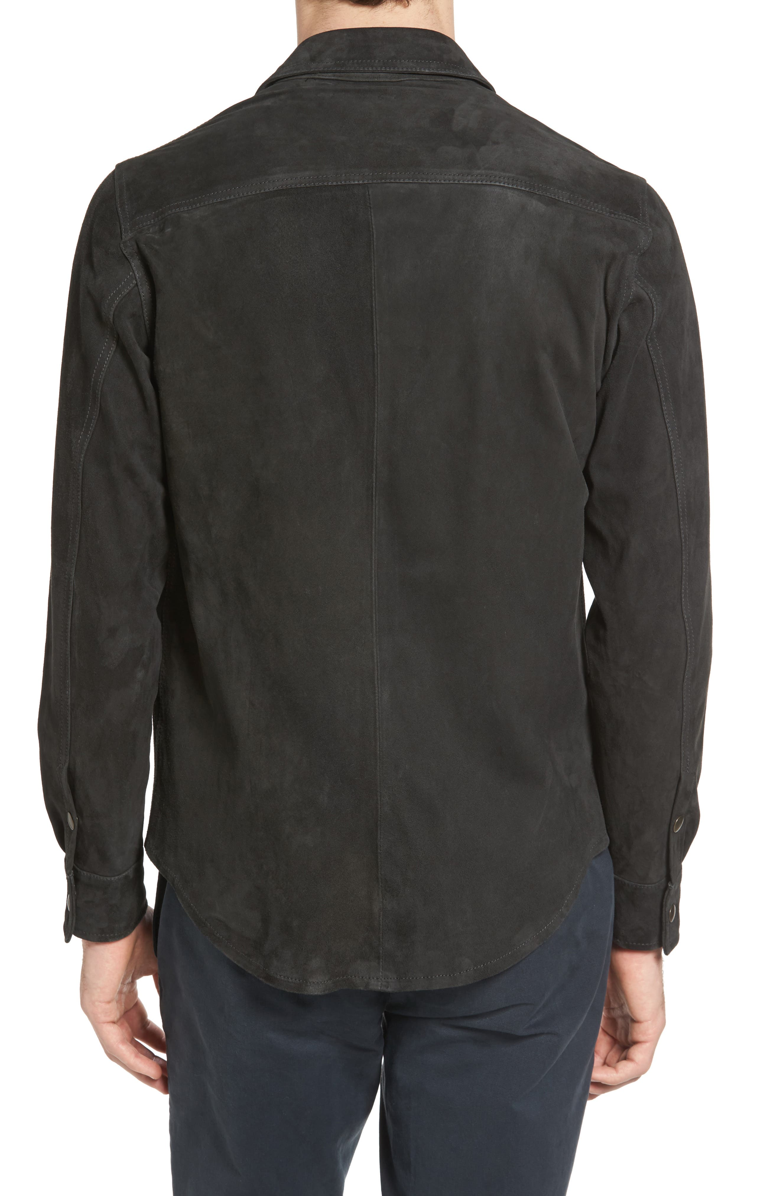 Suede Work Shirt,                             Alternate thumbnail 2, color,                             CHARCOAL