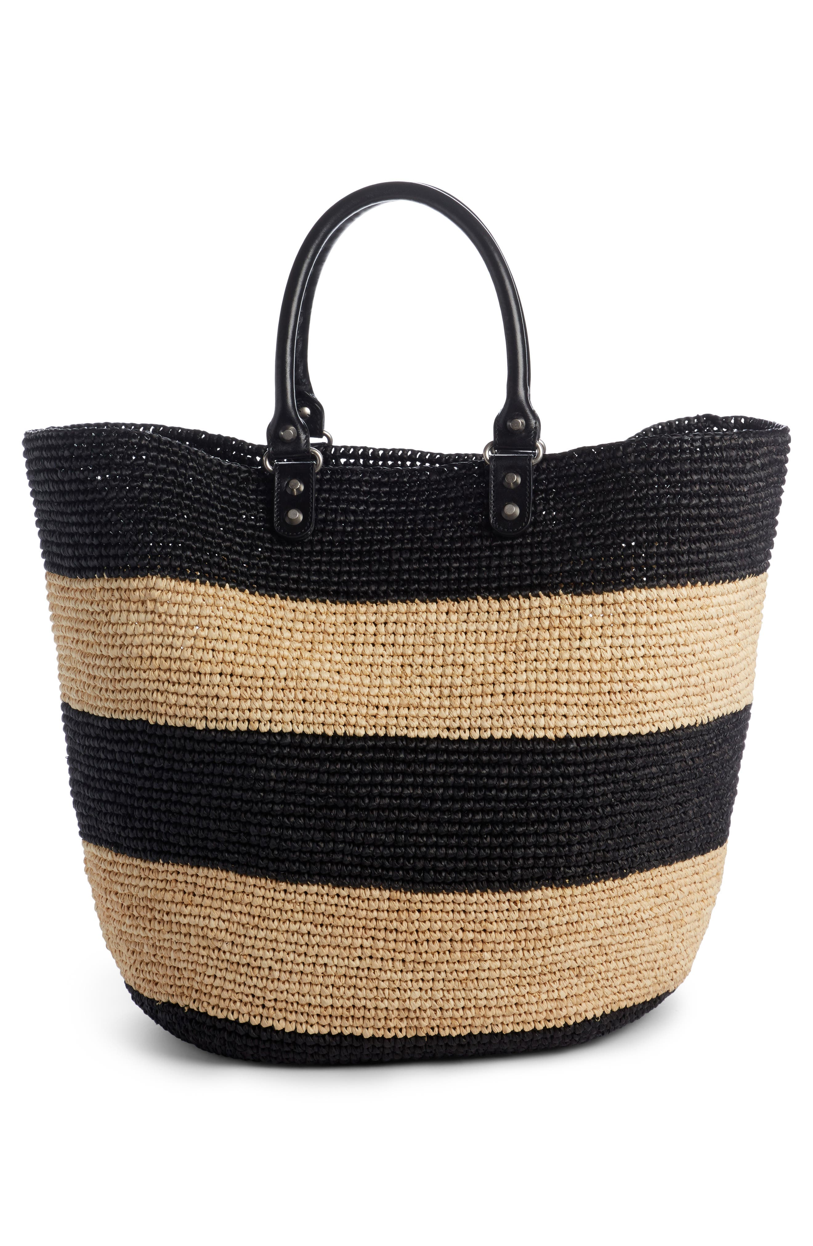 Large Panier Woven Tote with Calfskin Leather Trim,                             Alternate thumbnail 2, color,                             250