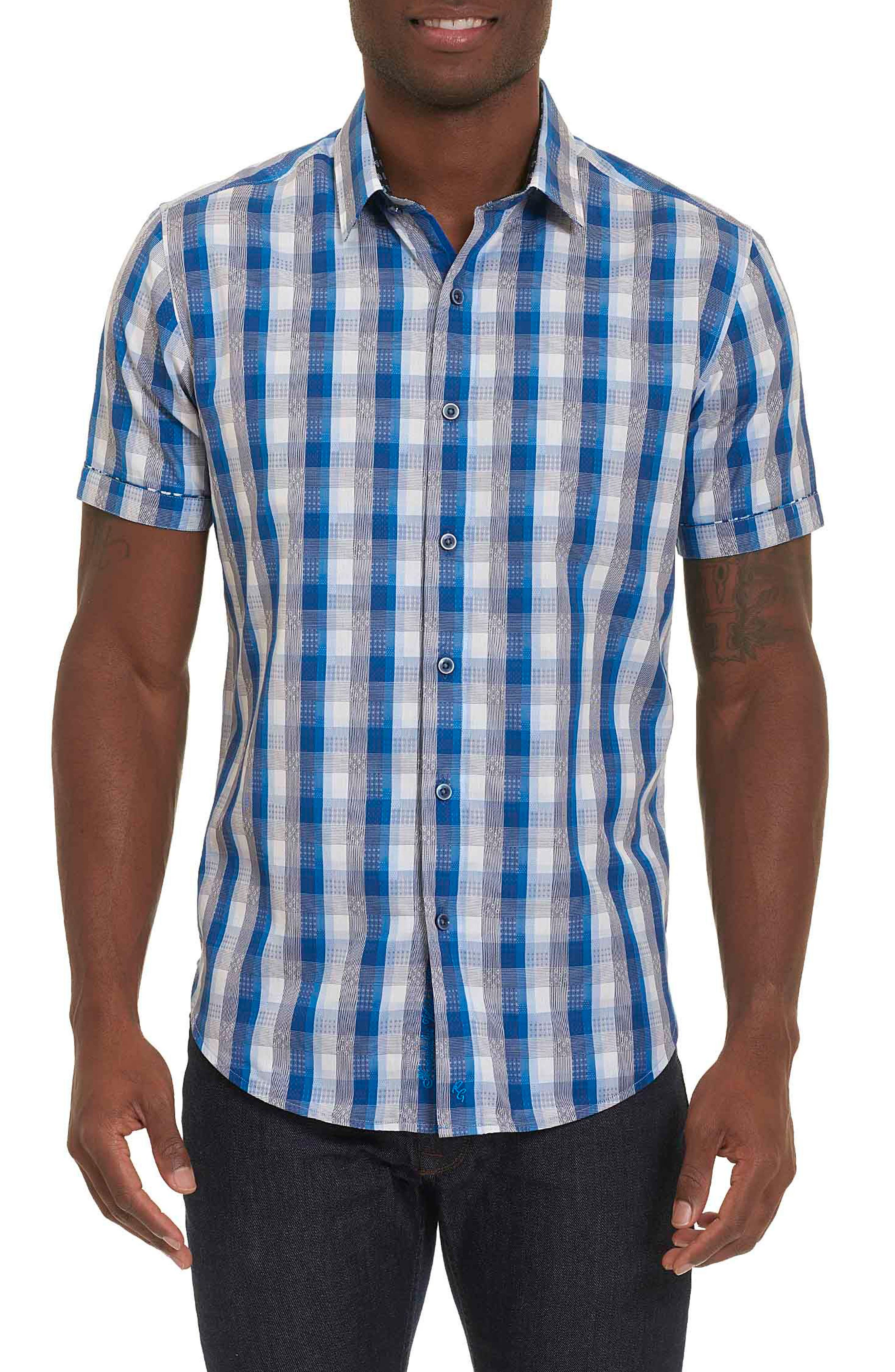 Greenfield Dobby Check Sport Shirt,                         Main,                         color, NAVY