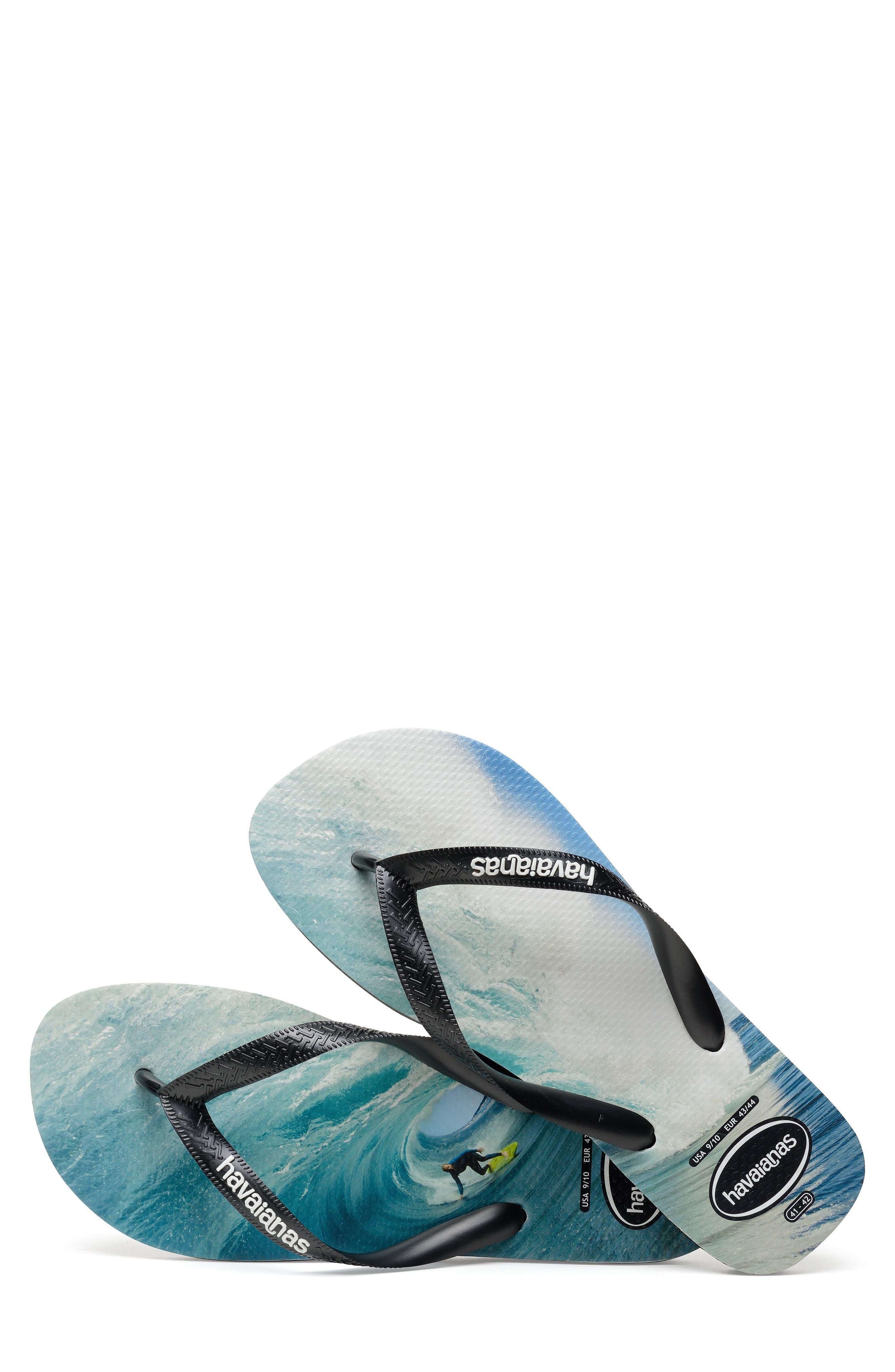 HAVAIANAS,                             Top Photo Print Flip Flop,                             Alternate thumbnail 4, color,                             BLACK/ BLACK/ BLUE
