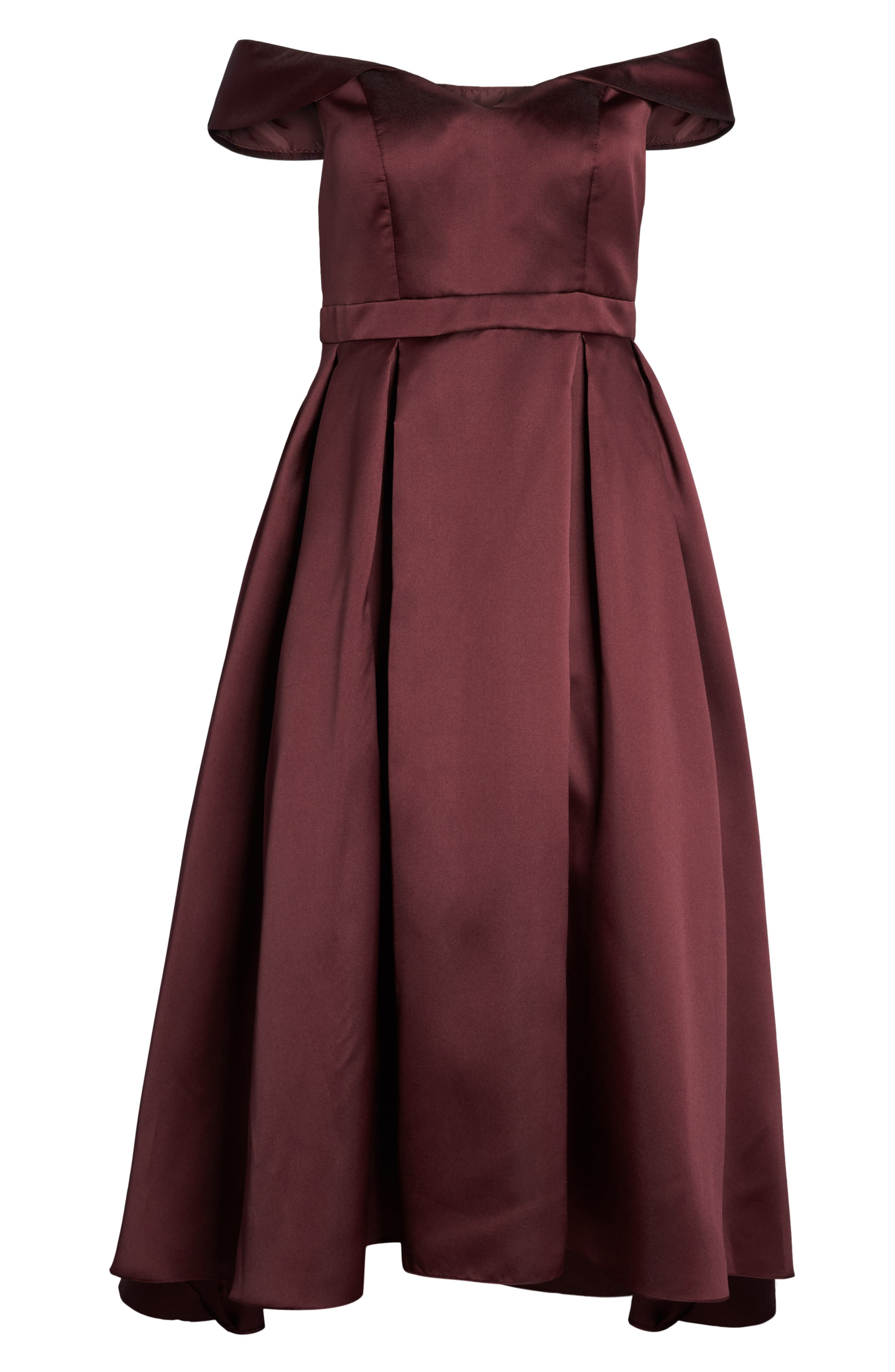 Off the Shoulder Mikado High/Low Gown,                             Alternate thumbnail 7, color,                             BURGUNDY