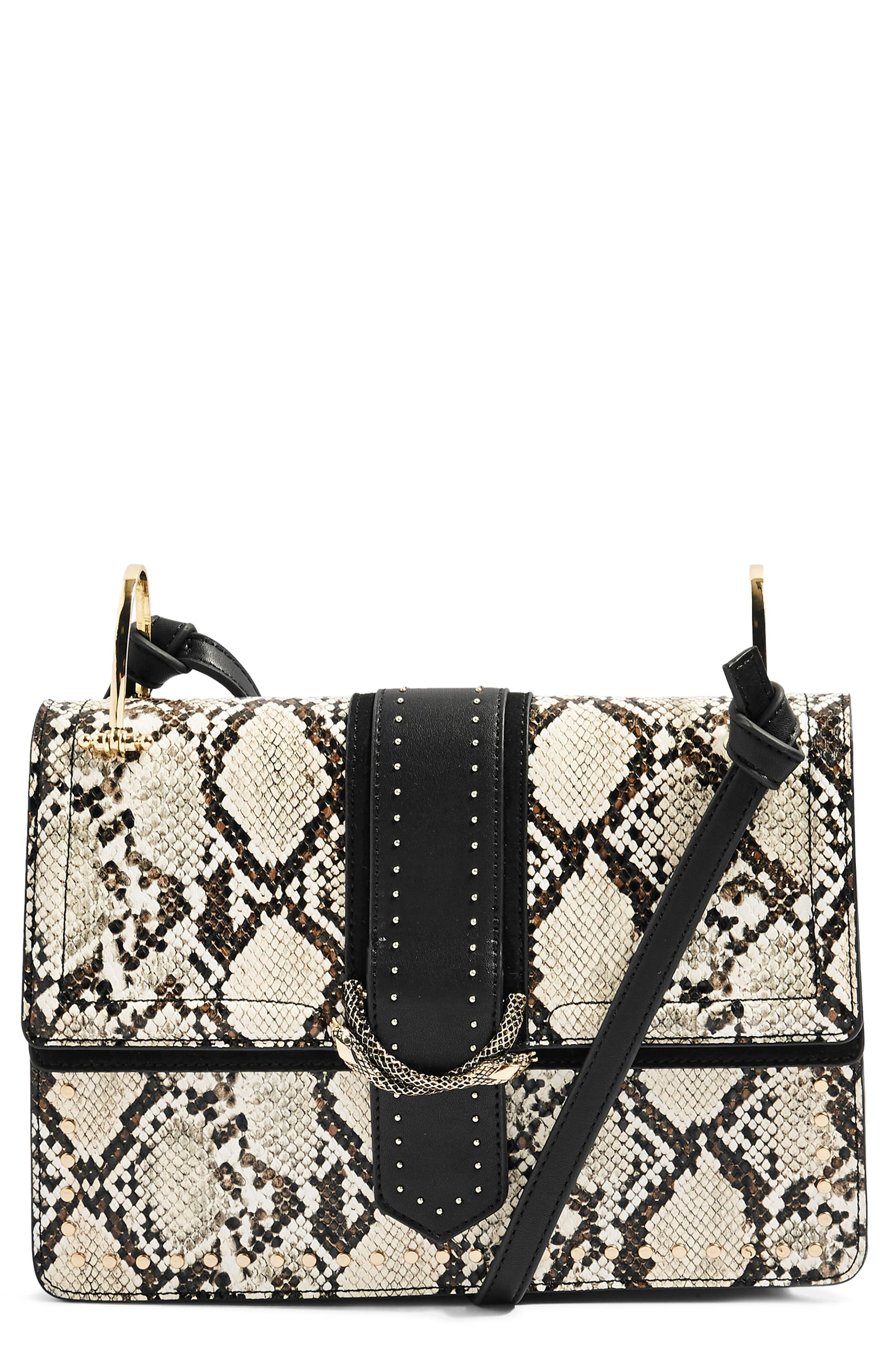 Suri Snake Effect Shoulder Bag,                             Main thumbnail 1, color,                             BLACK MULTI
