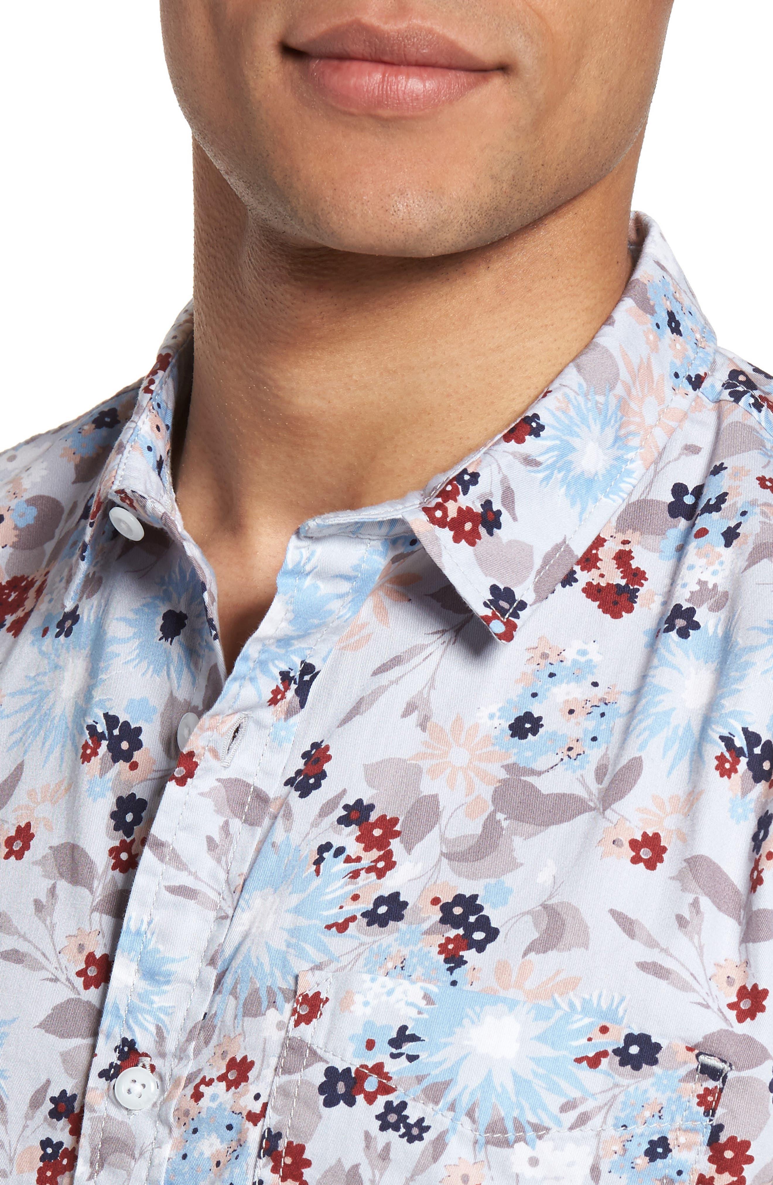 Floral Print Shirt,                             Alternate thumbnail 4, color,