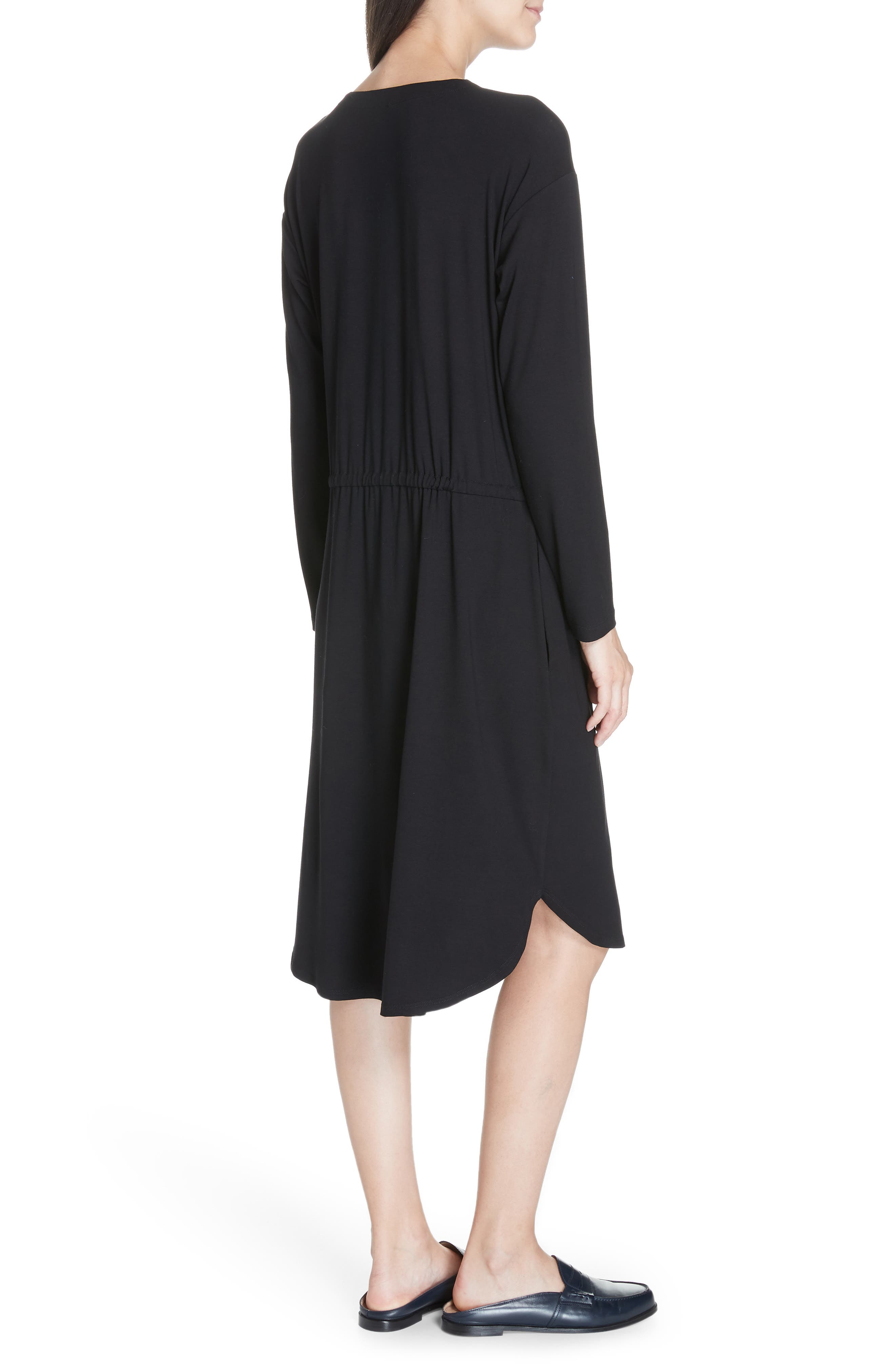 Drawstring Waist Dress,                             Alternate thumbnail 3, color,                             BLACK