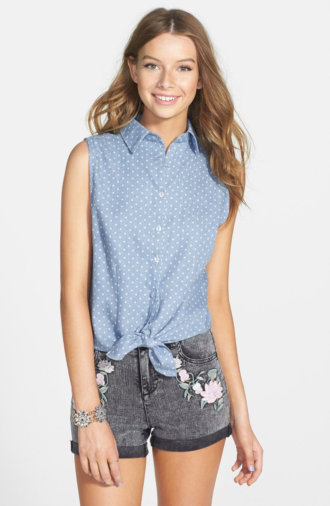 Polka Dot Sleeveless Tie Waist Shirt,                         Main,                         color, 400