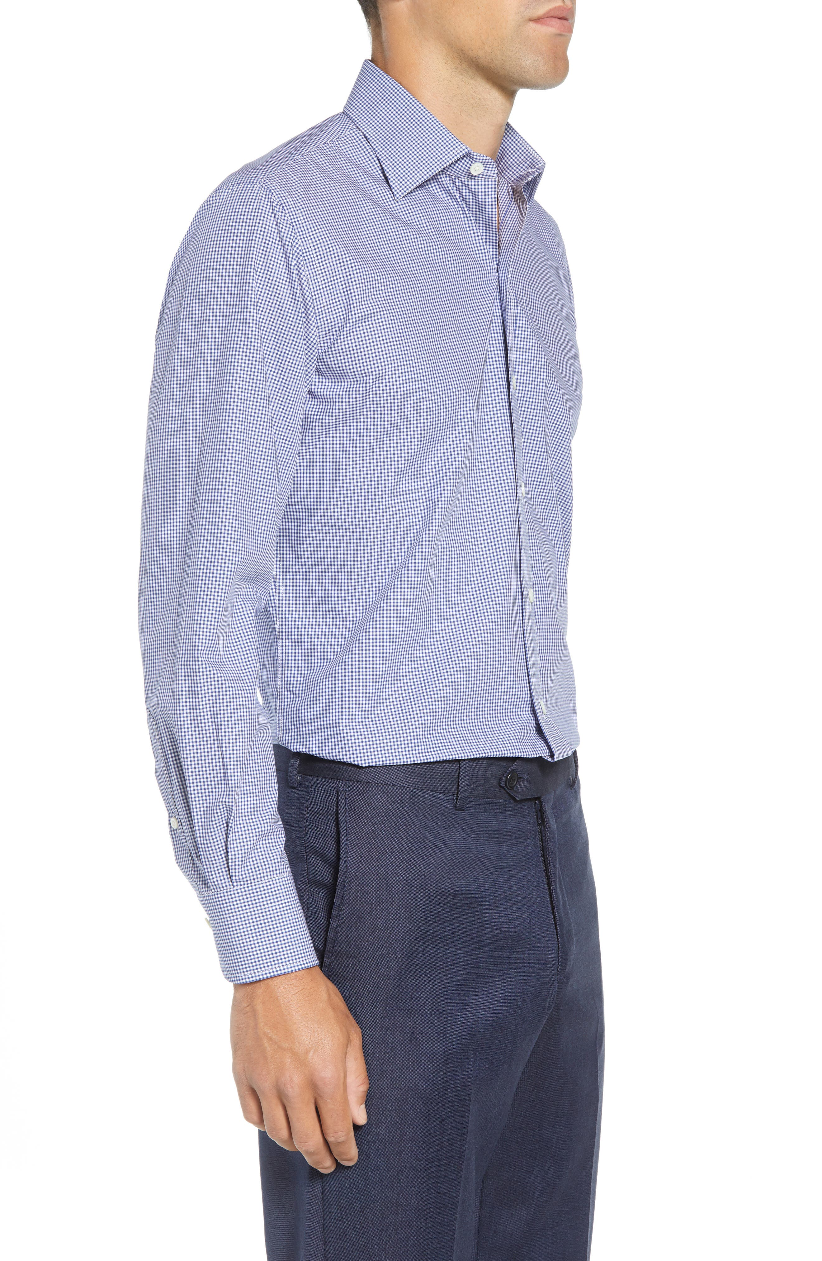 Classic Fit Gingham Dress Shirt,                             Alternate thumbnail 4, color,                             420