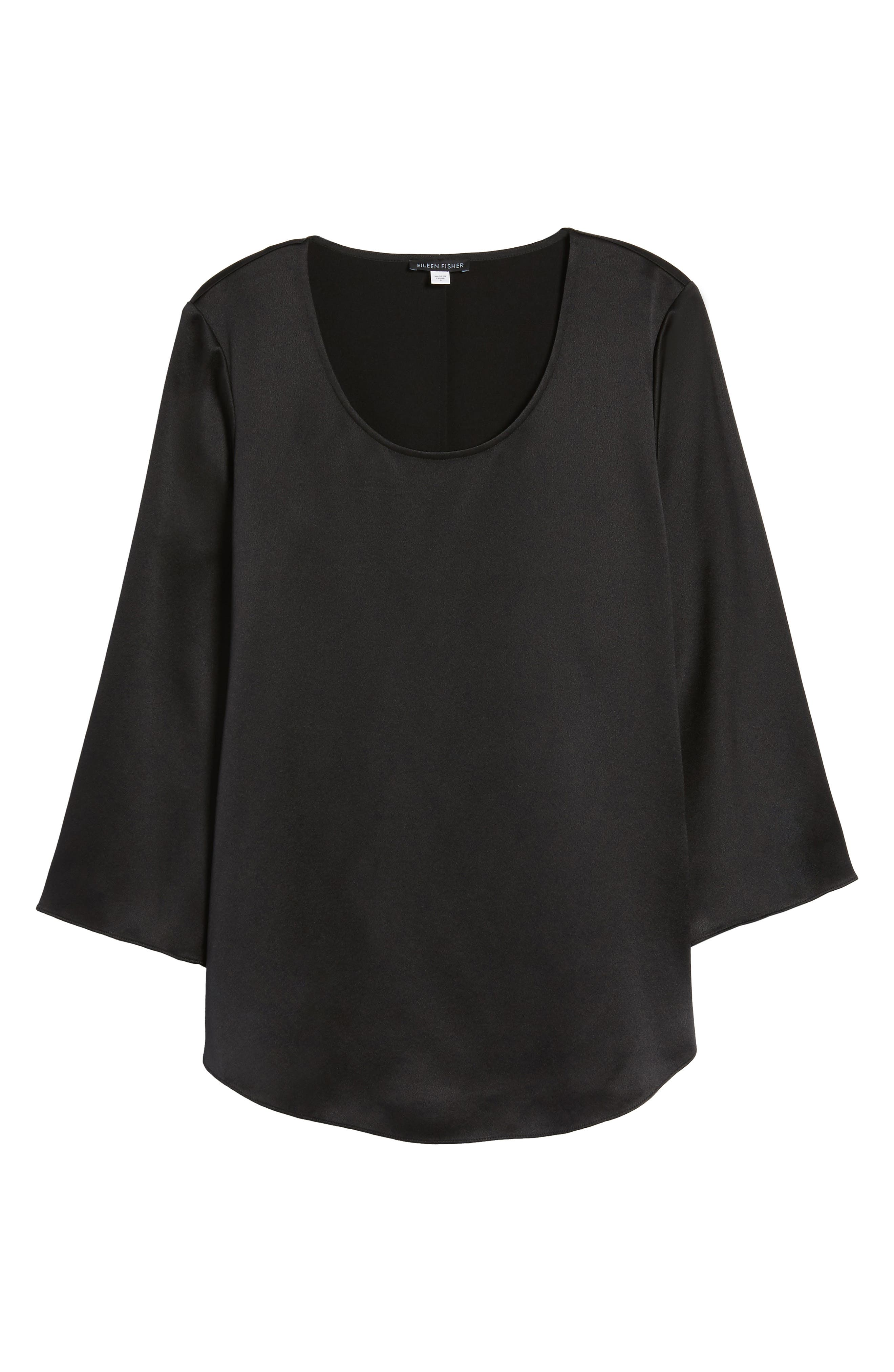 U-Neck Silk Top,                             Alternate thumbnail 6, color,                             001