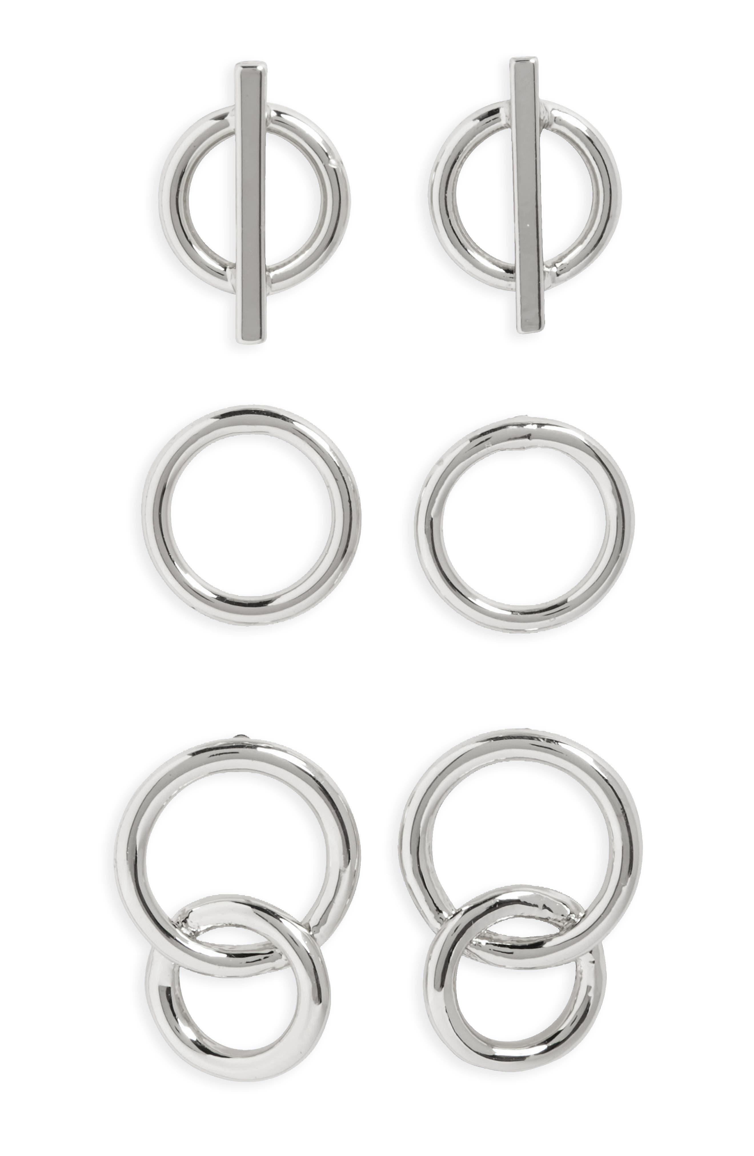 Set of 3 Stud Earrings,                         Main,                         color, 040