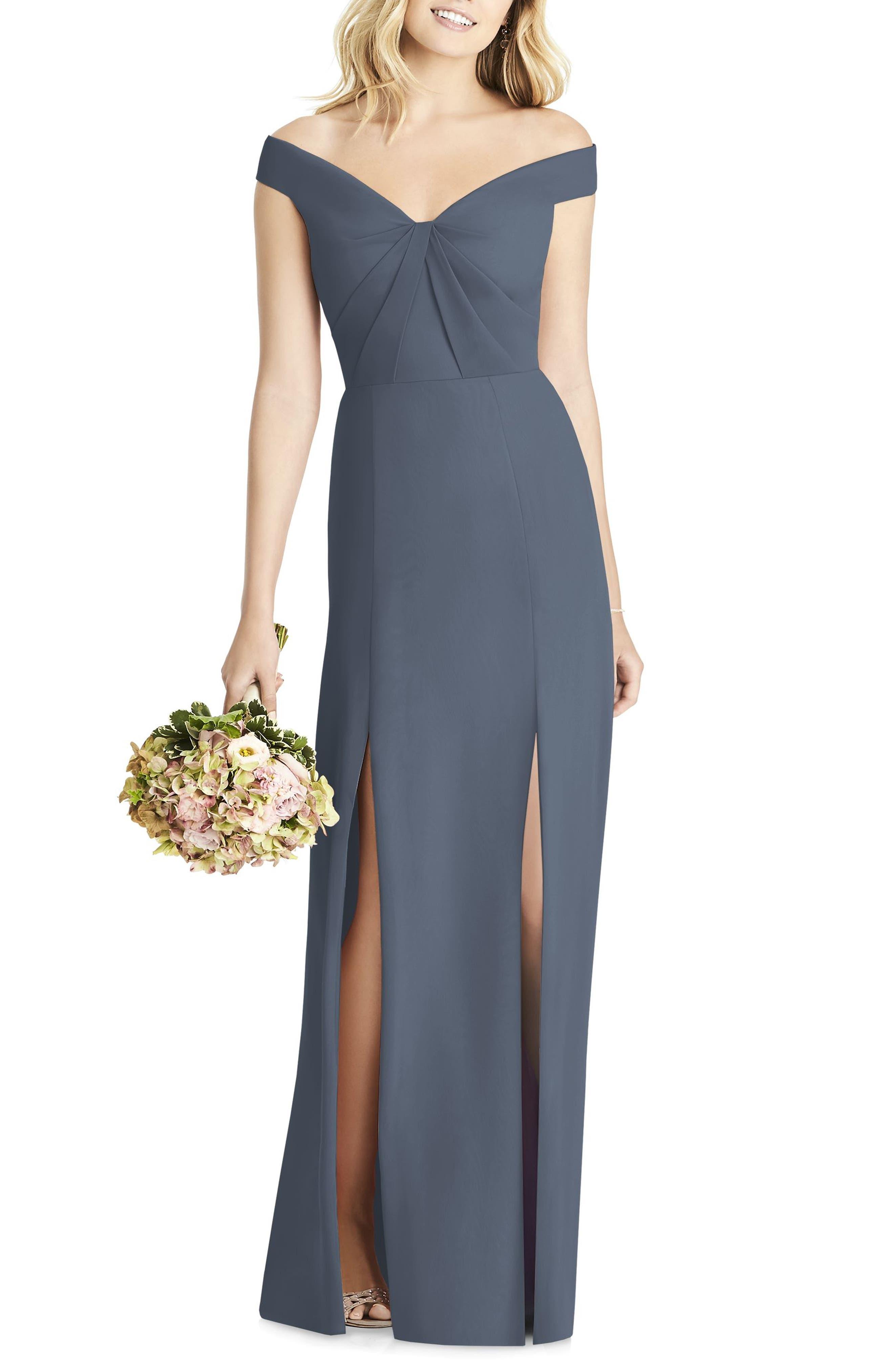 Social Bridesmaids Off The Shoulder Chiffon Gown, Grey