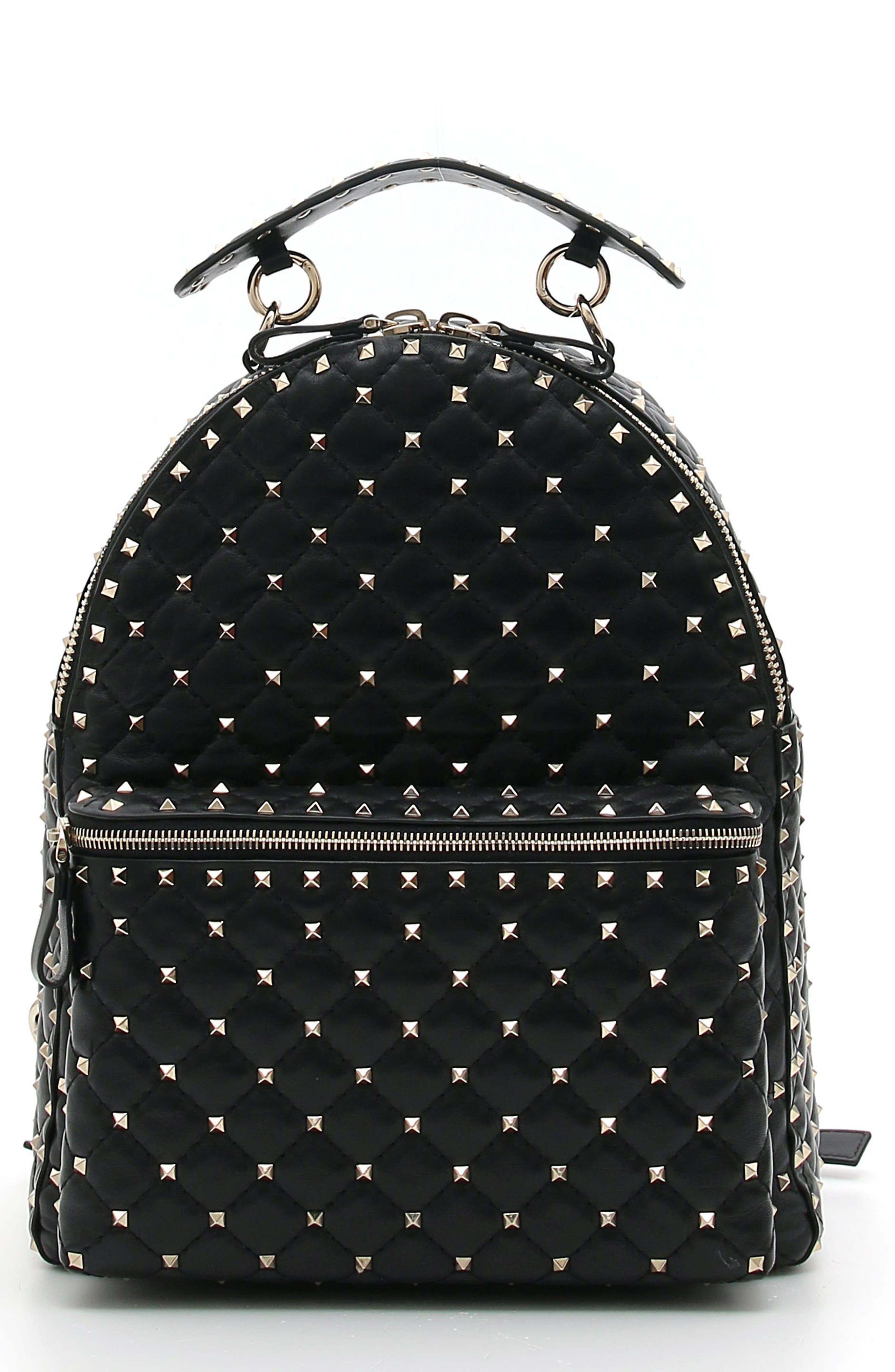 Rockstud Spike Quilted Leather Backpack,                         Main,                         color, BLACK