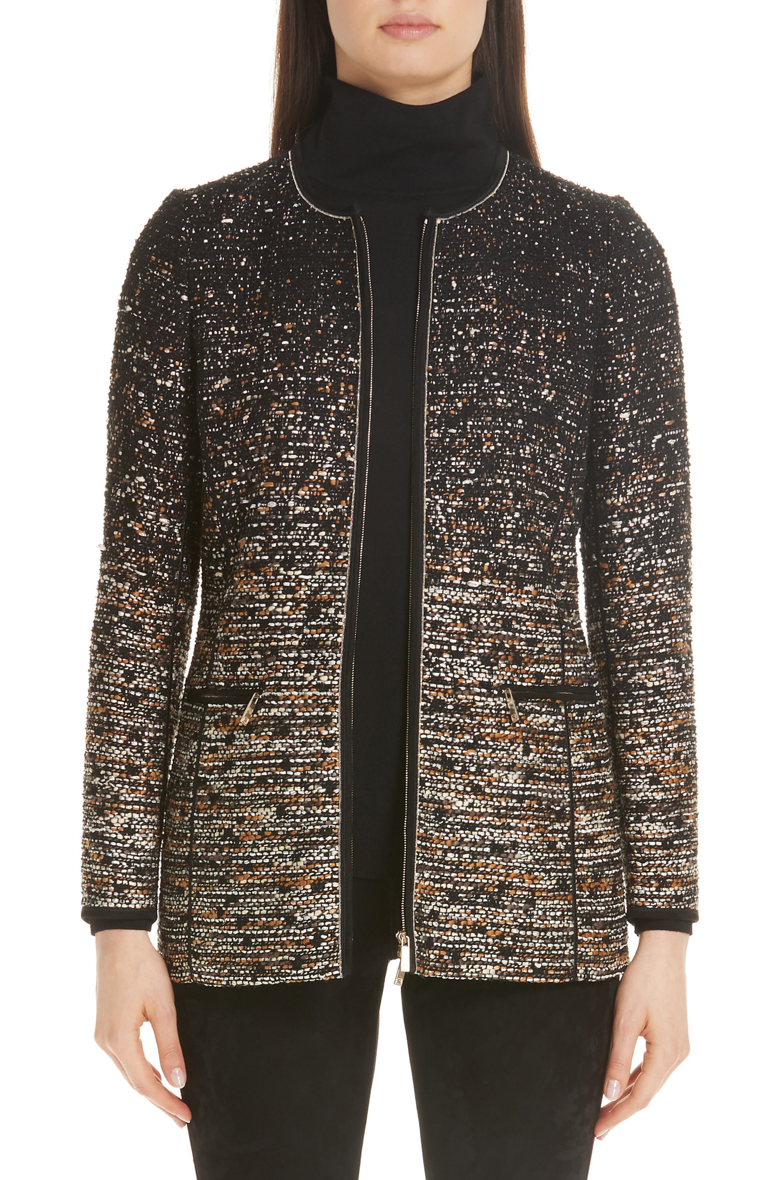 LAFAYETTE 148 Karina Zip-Front Tweed Jacket W/ Tape Seams in Black Multi