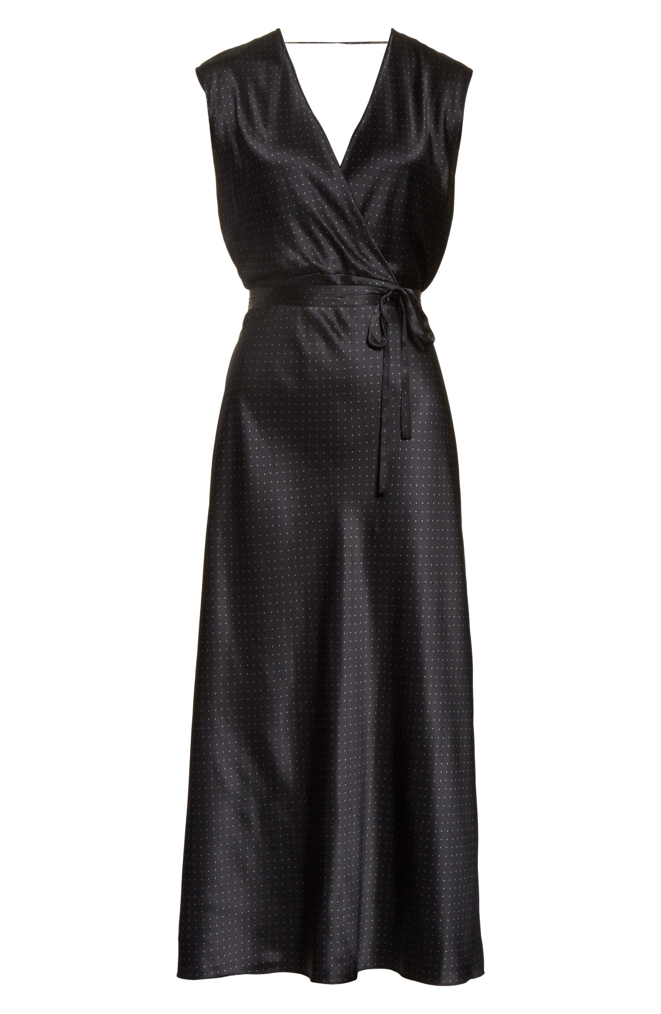 Vintage Polka Dot Faux Wrap Silk Dress,                             Alternate thumbnail 7, color,                             002