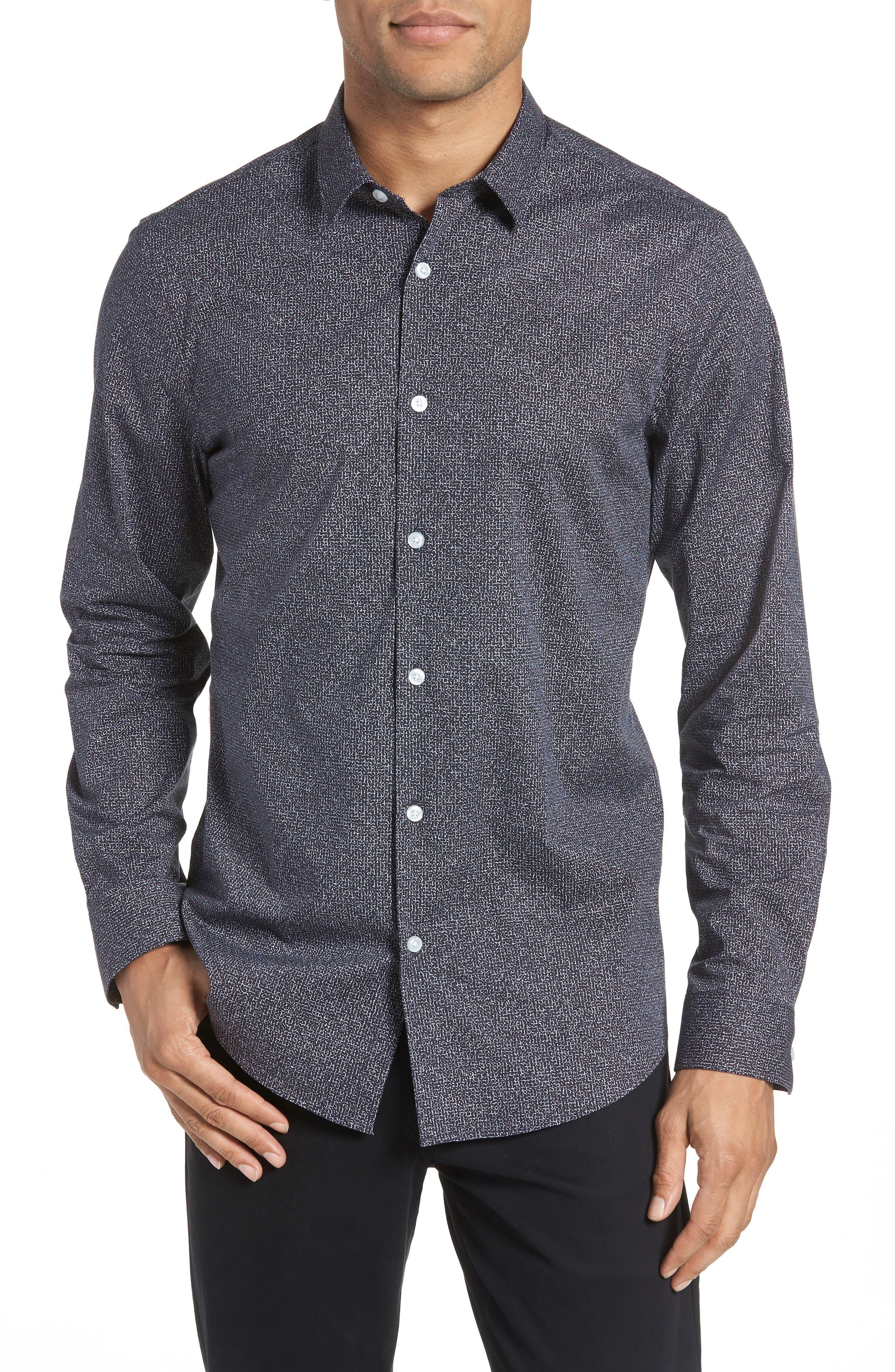 Trim Fit Stretch Check Sport Shirt,                         Main,                         color,