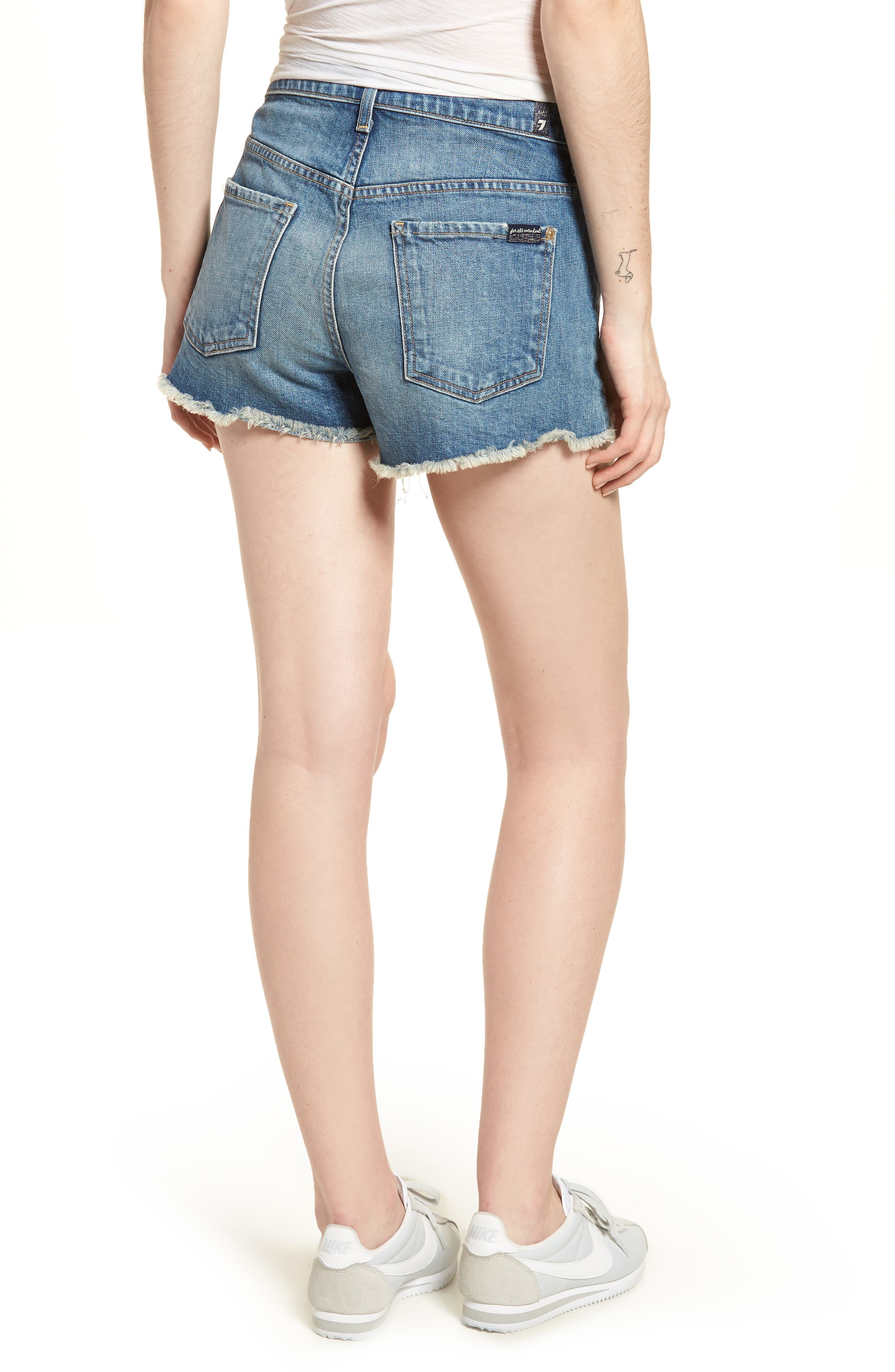 High Waist Cutoff Wave Hem Denim Shorts,                             Alternate thumbnail 2, color,                             400