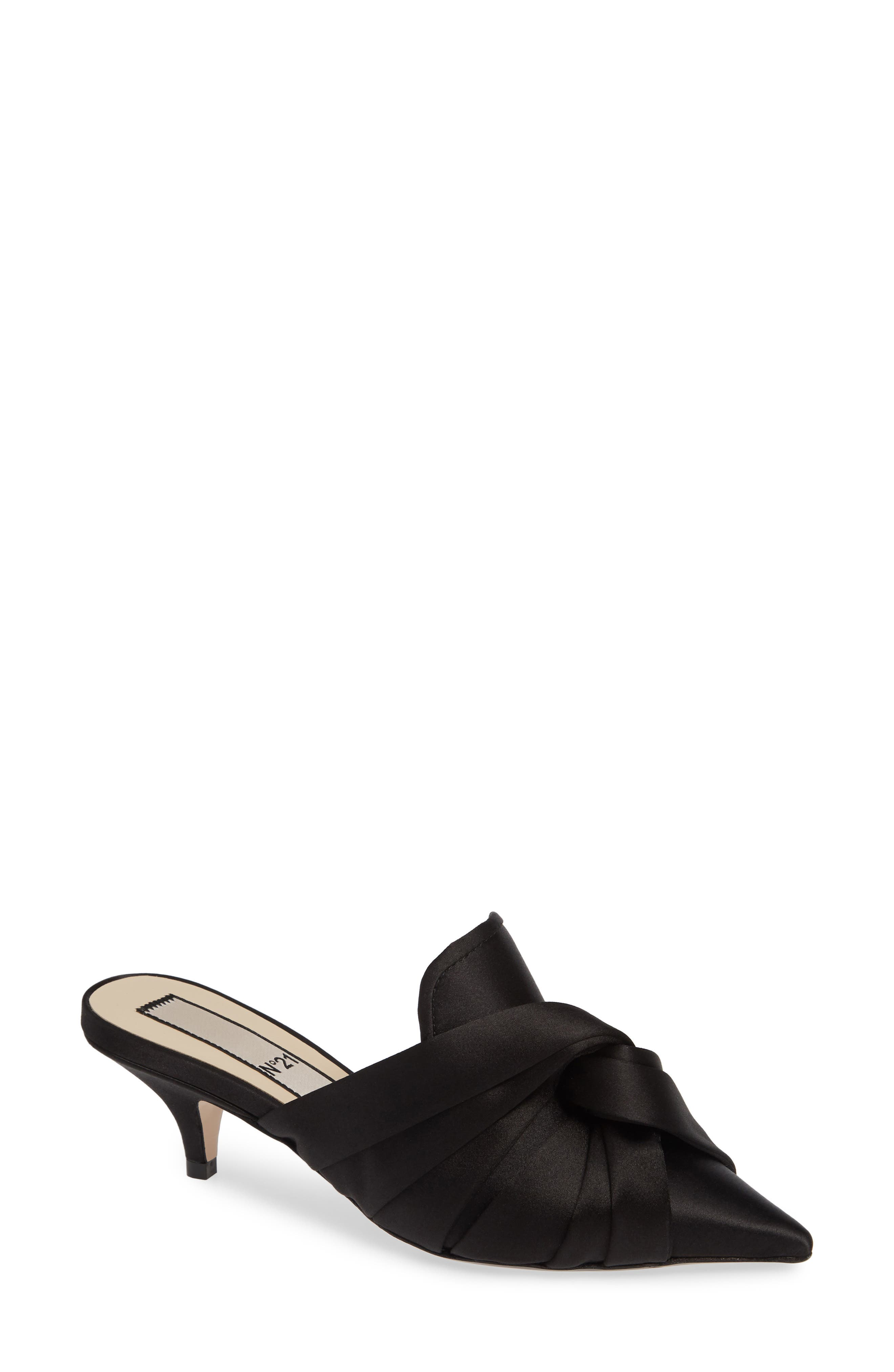Knotted Mule,                         Main,                         color, BLACK SATIN