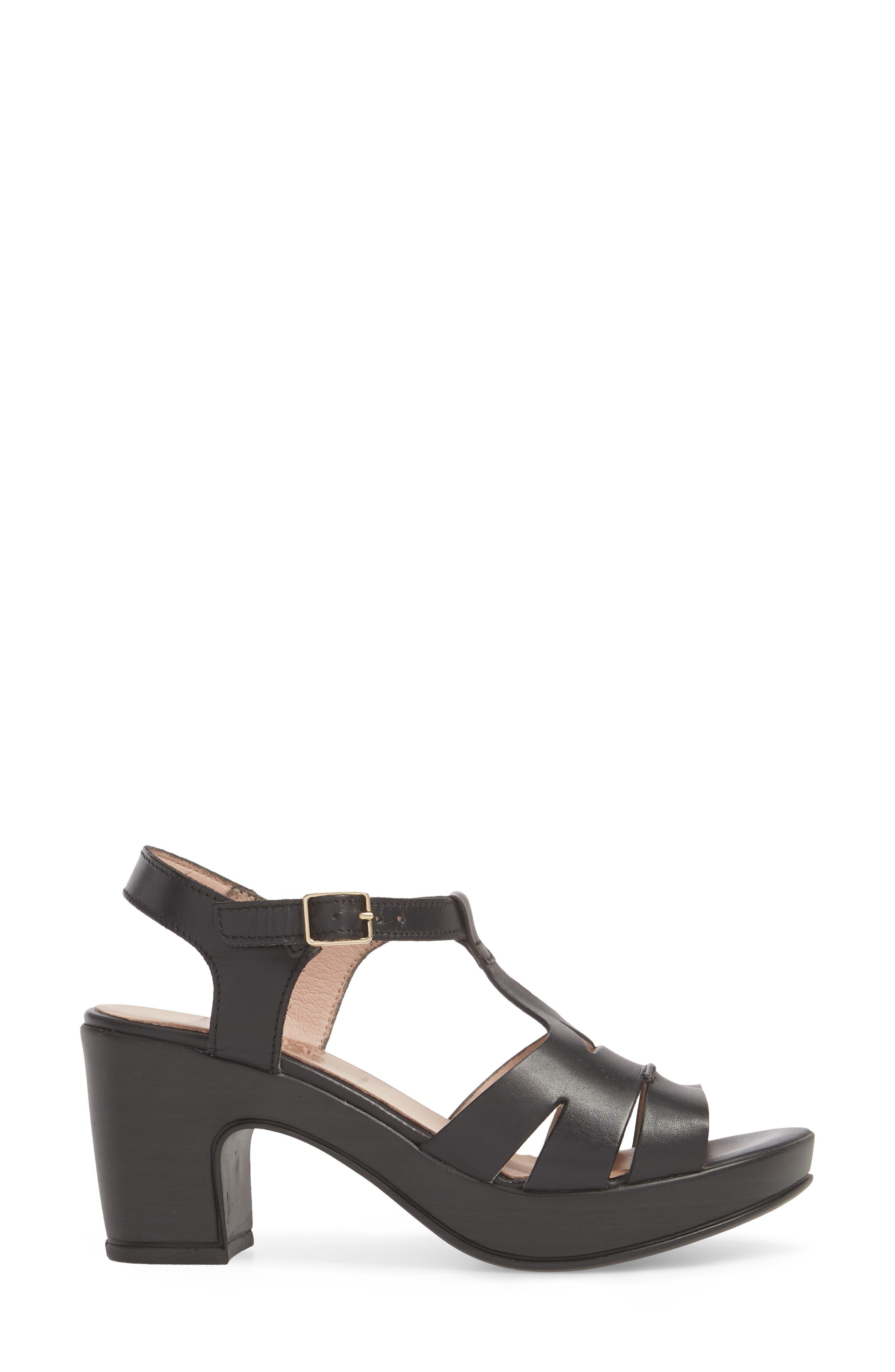 Block Heel Platform Sandal,                             Alternate thumbnail 3, color,                             BLACK LEATHER