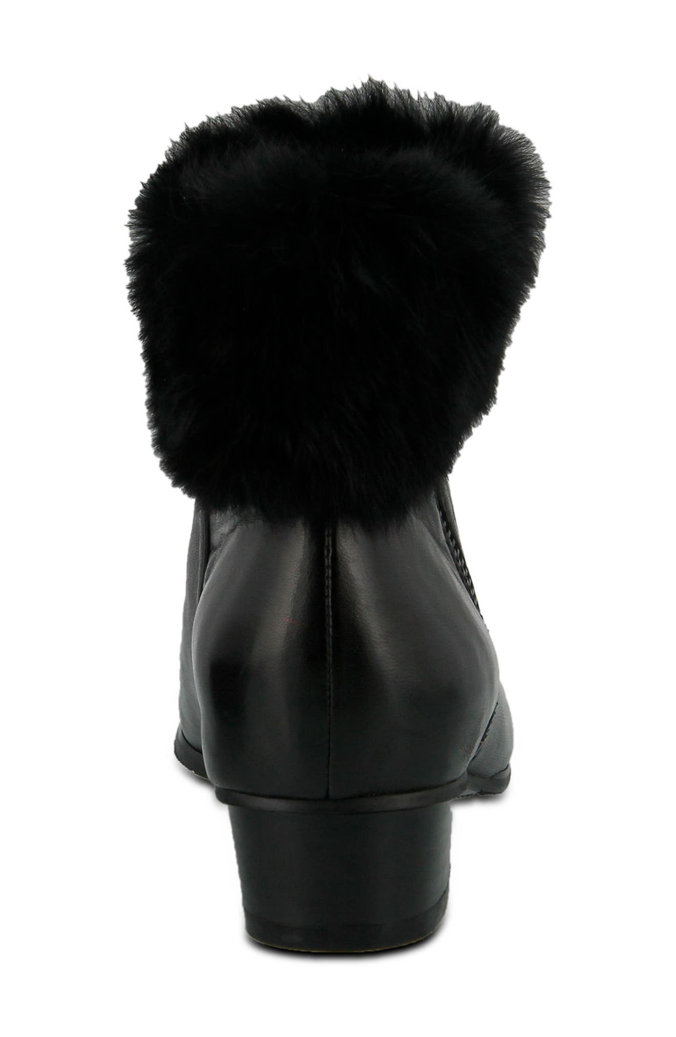 Burnside Faux Fur Trim Bootie,                             Alternate thumbnail 2, color,                             BLACK LEATHER