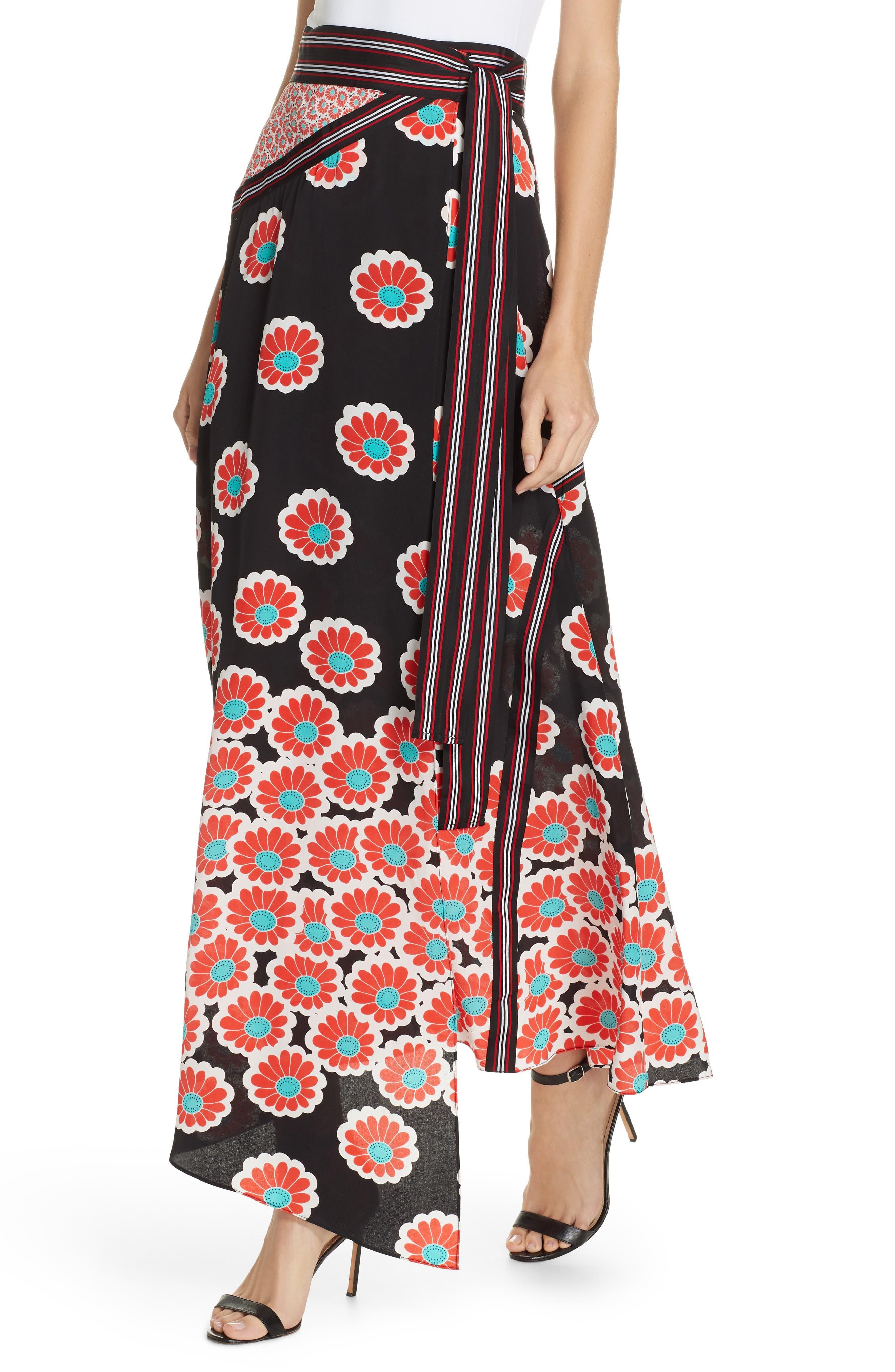 Taylor Wrap Maxi Skirt,                             Alternate thumbnail 4, color,                             KIMONO BLOSSOM BLACK MULTI