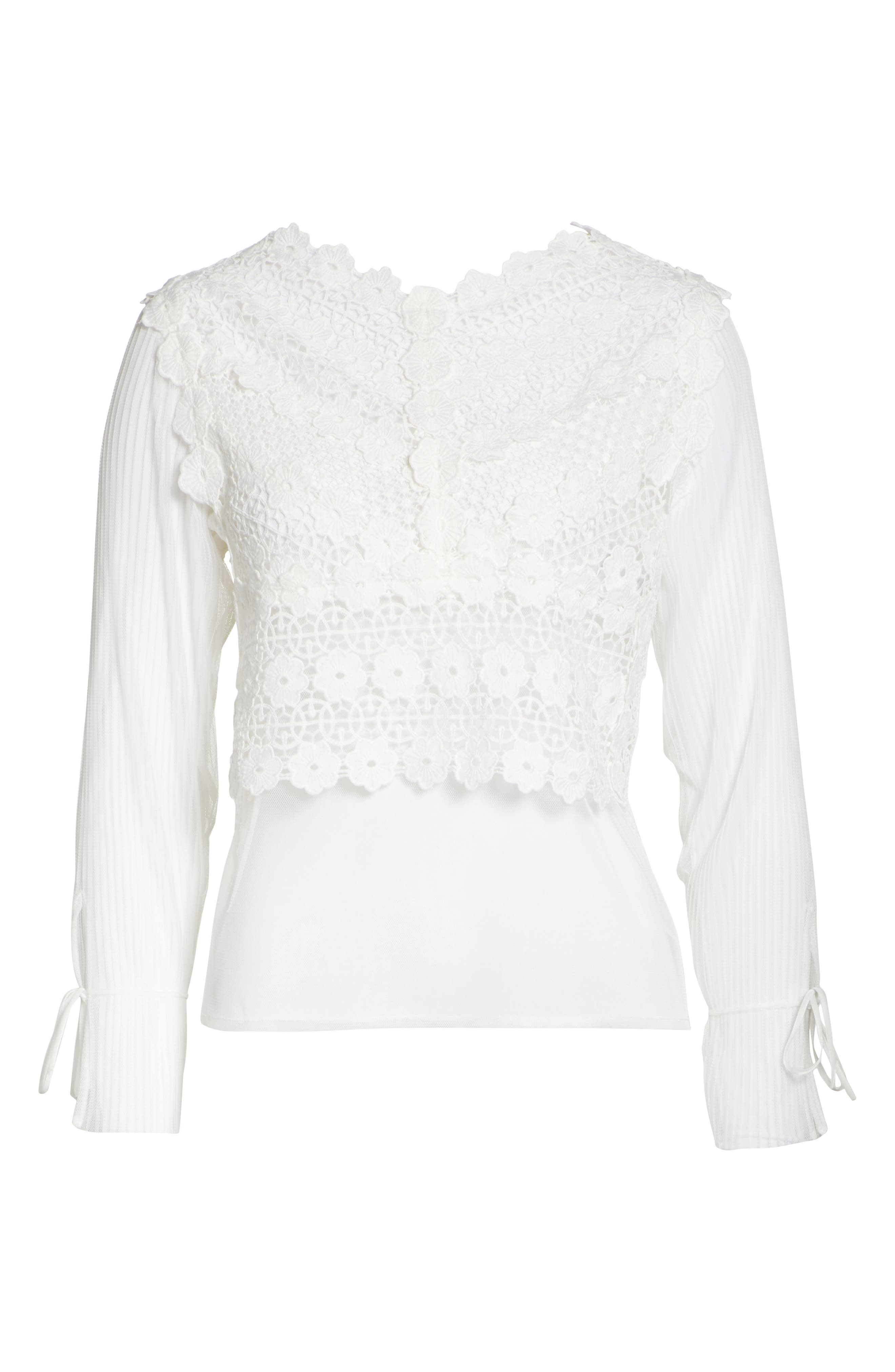 Tulle Lace Top,                             Alternate thumbnail 6, color,                             100