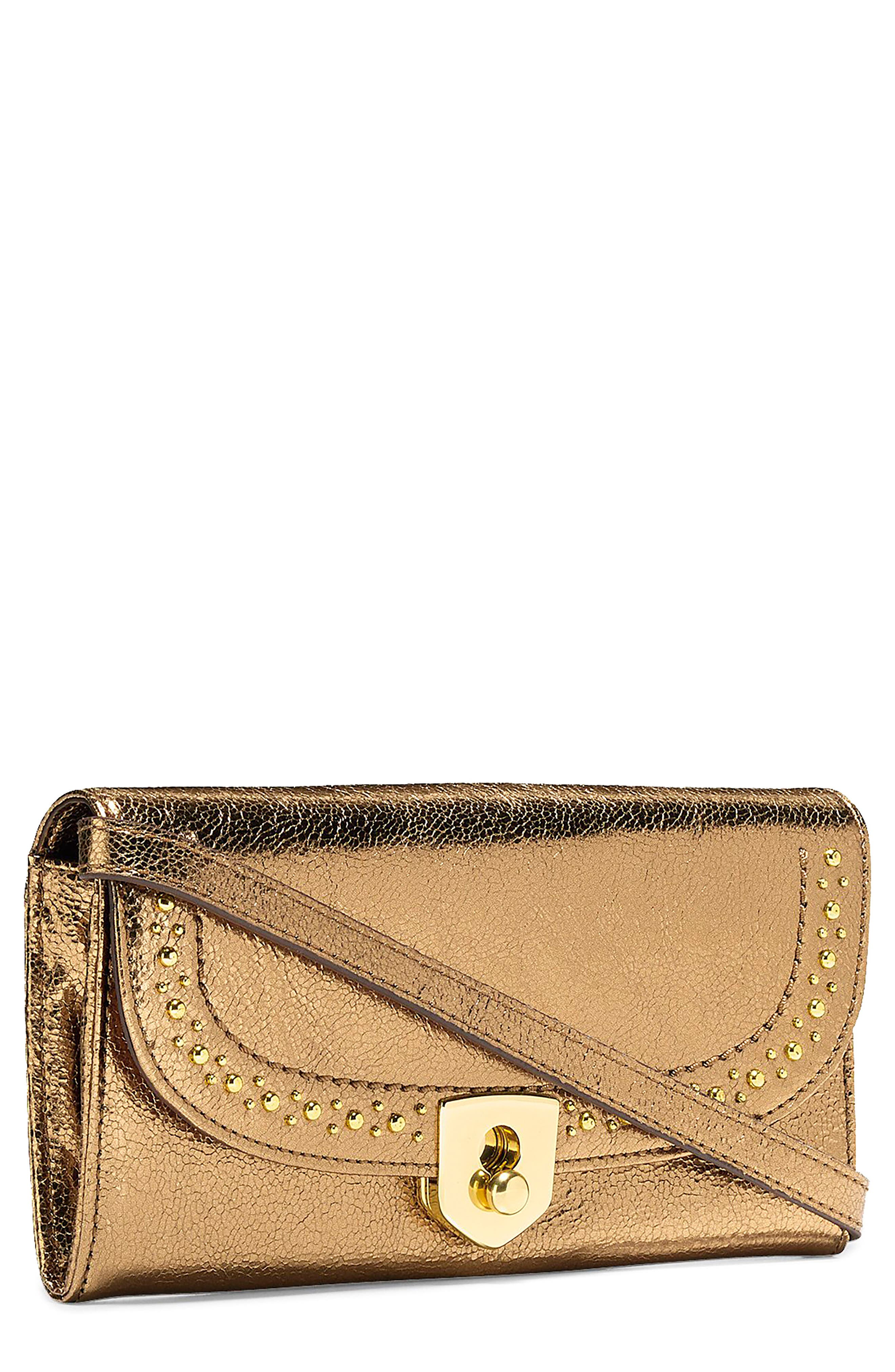 Marli Studded Metallic Leather Convertible Smartphone Clutch,                             Main thumbnail 2, color,