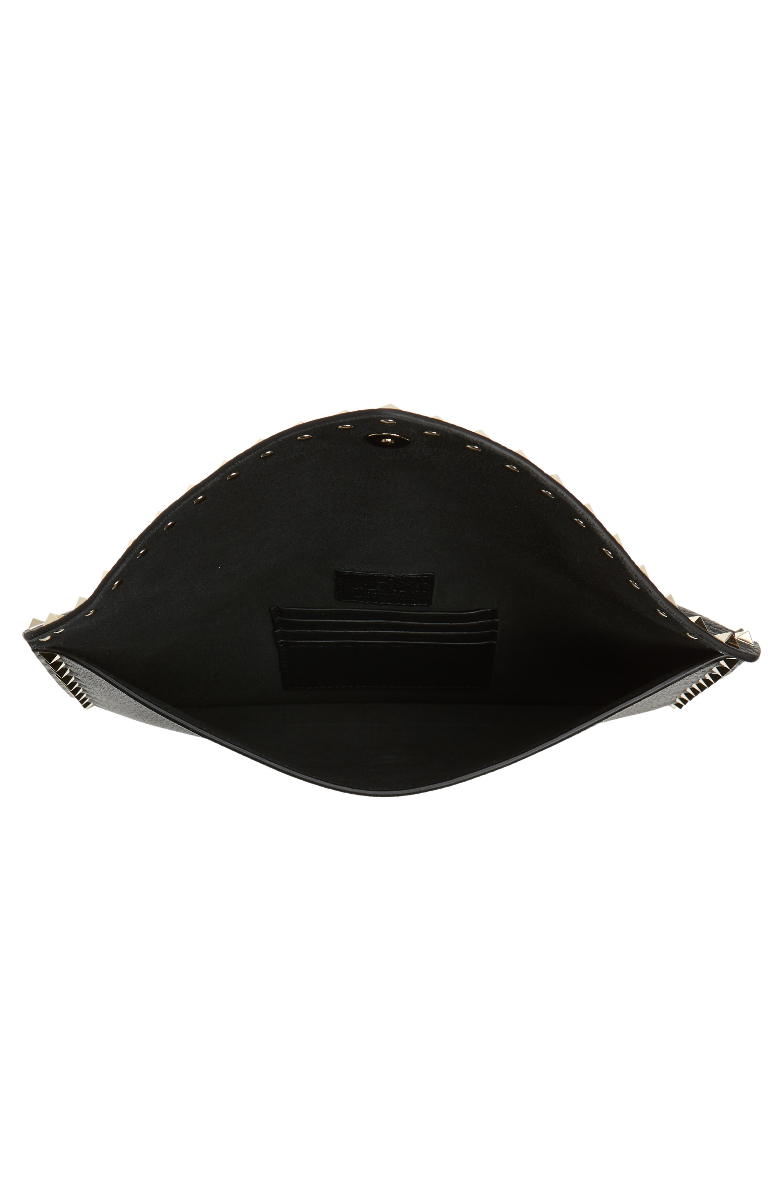 Large Rockstud Leather Pouch,                             Alternate thumbnail 4, color,                             NERO