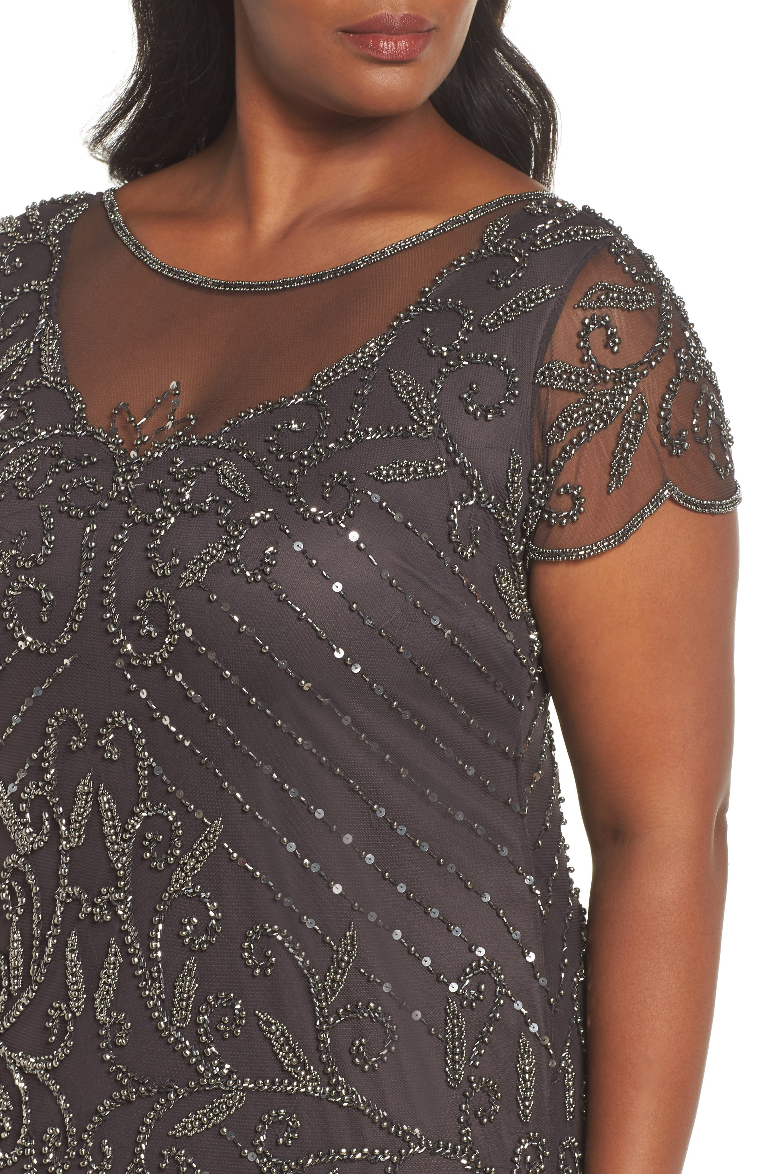 Beaded Illusion Yoke Sheath Dress,                             Alternate thumbnail 4, color,                             GRAY/ SILVER